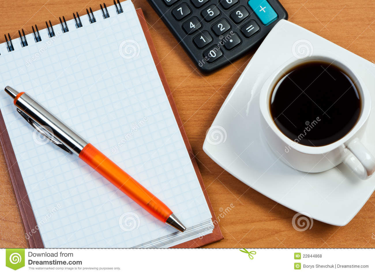 Coffee Notepad And Pen On Table Royalty Free Stock Photos