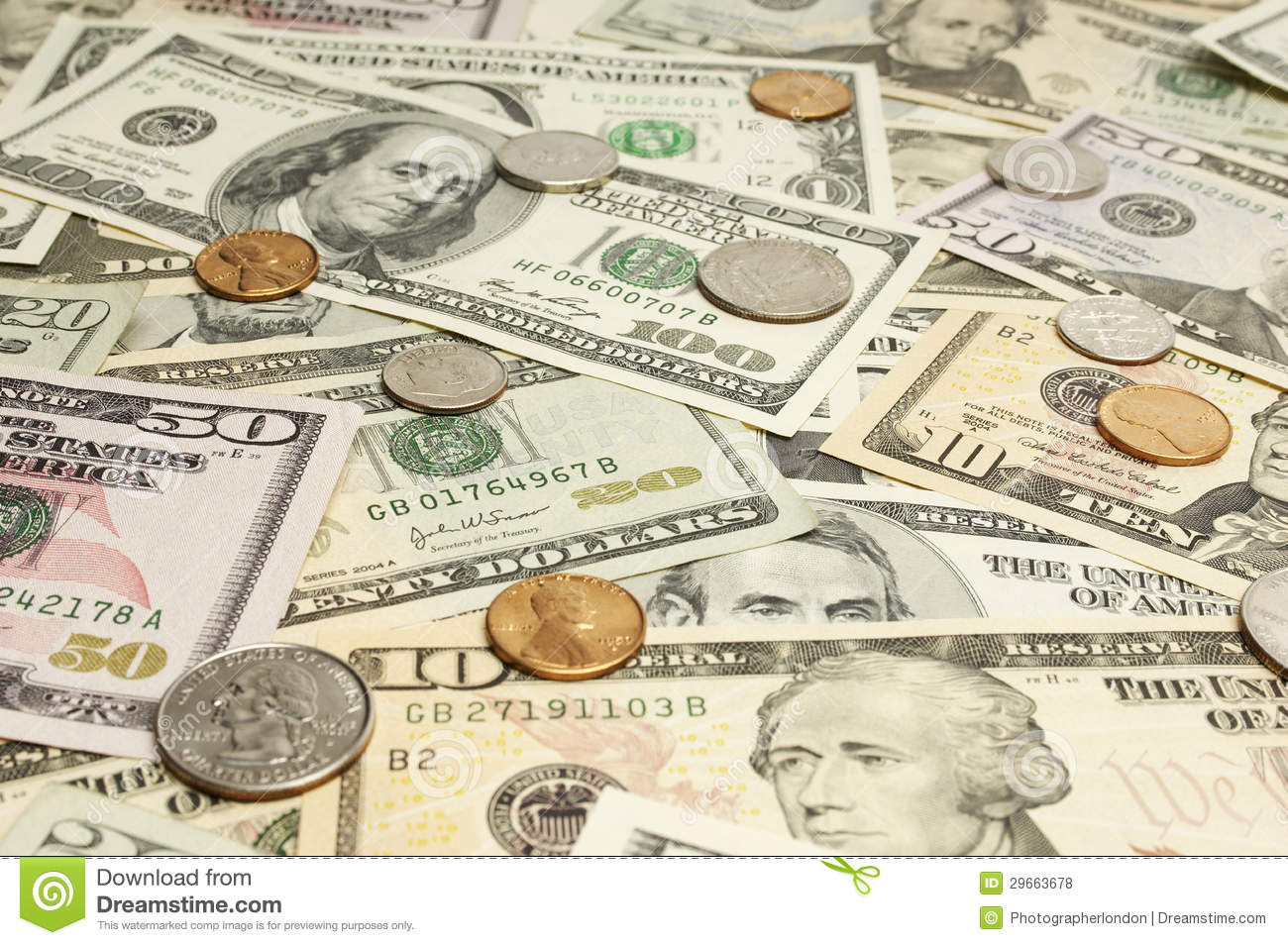 Coins On Dollar Bills Stock Photo Image Of Horizontal