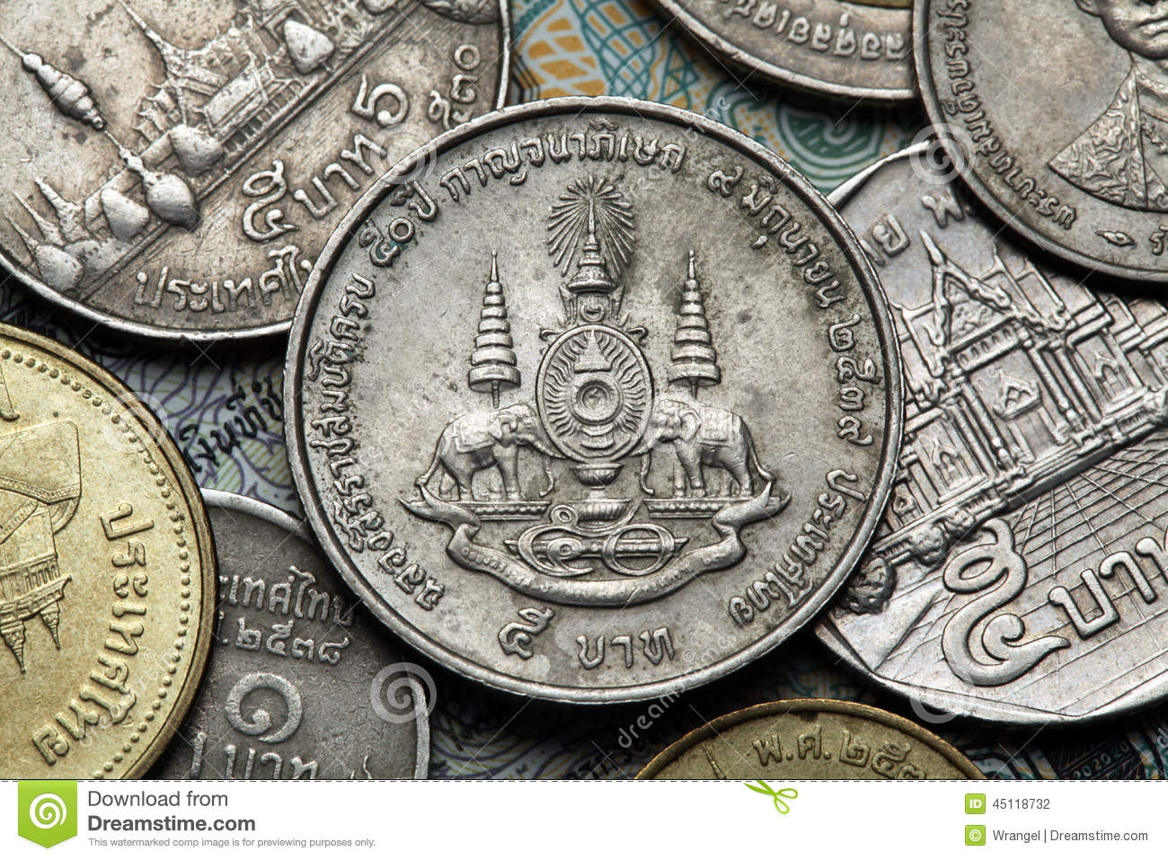 Coins Of Thailand Stock Photo Image 45118732