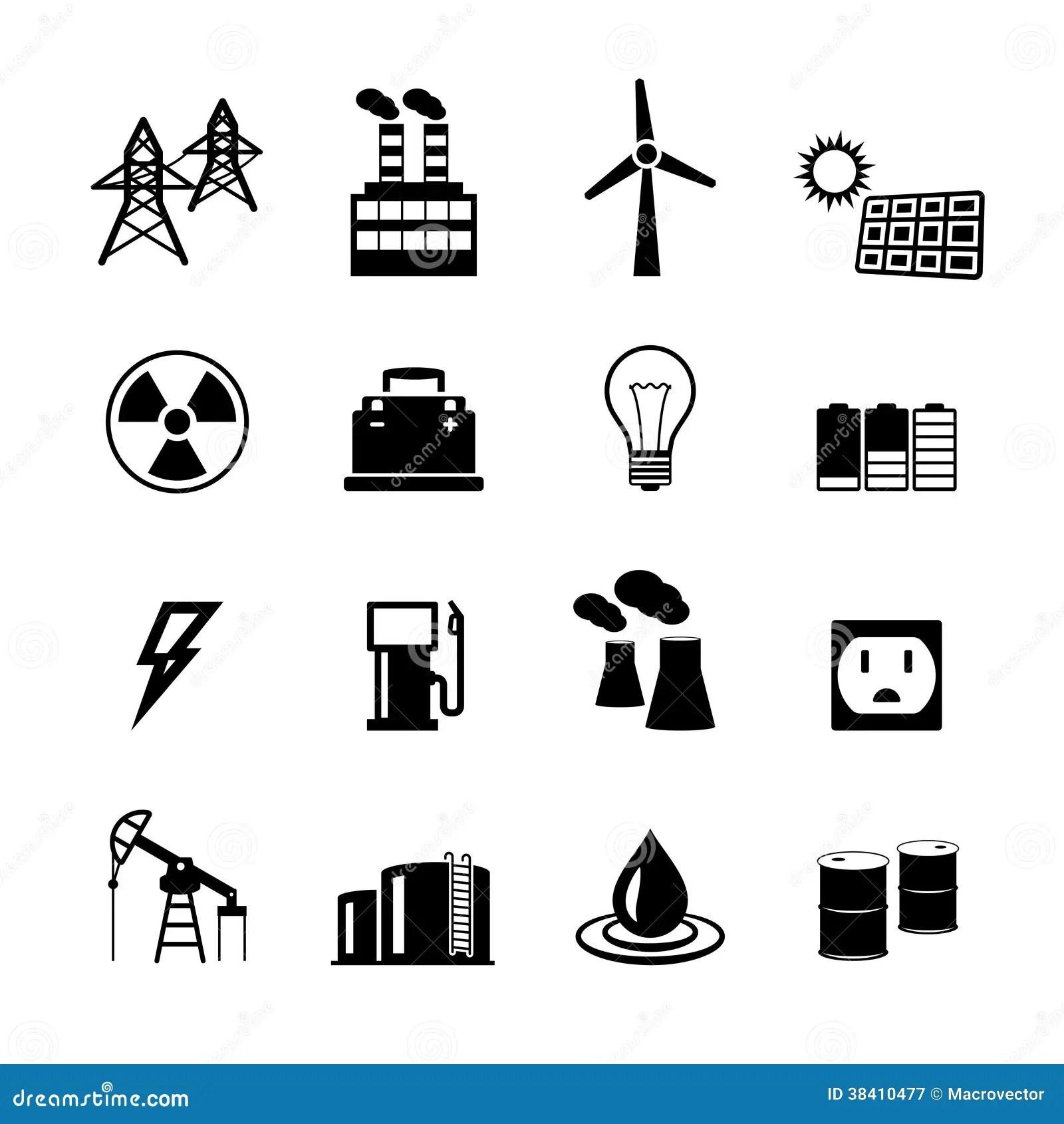 Colecao Dos Pictograma Do Poder Da Energia Ilustracao Do