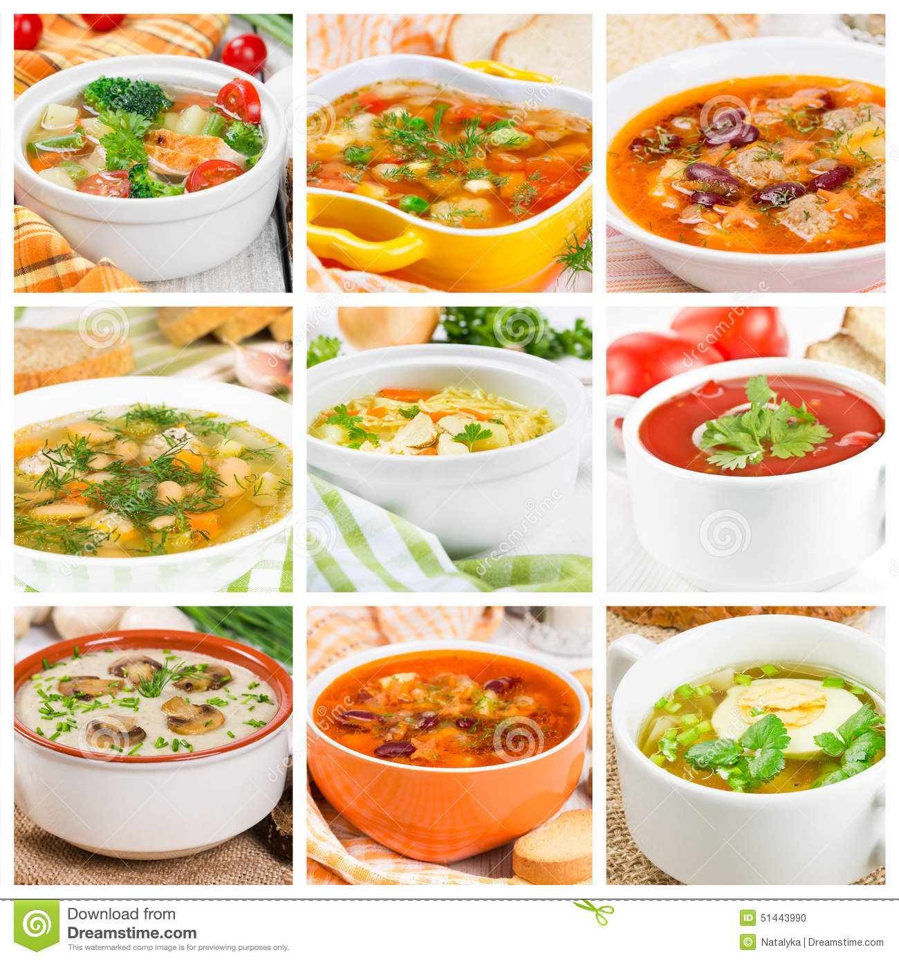Collage Of Different Soups Stock Photo Image Of Meatballs