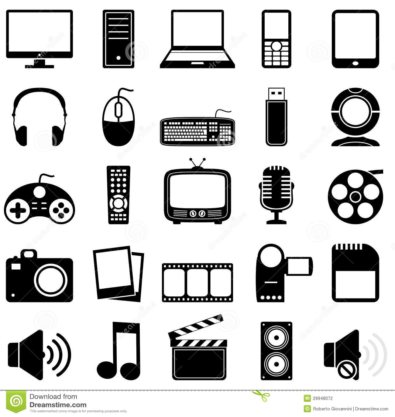 Multimedia Black Amp White Icons Stock Vector