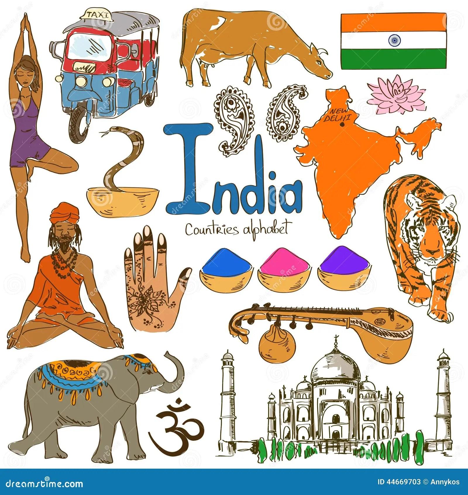Collection D Icones D Inde Illustration De Vecteur