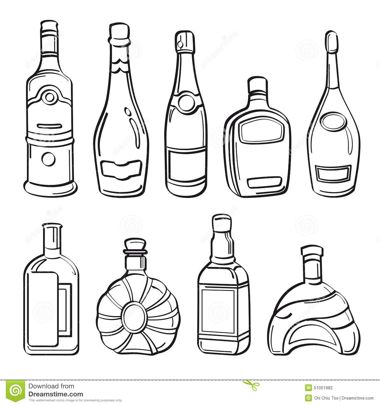 Collection De Bouteilles D Alcool Illustration Stock
