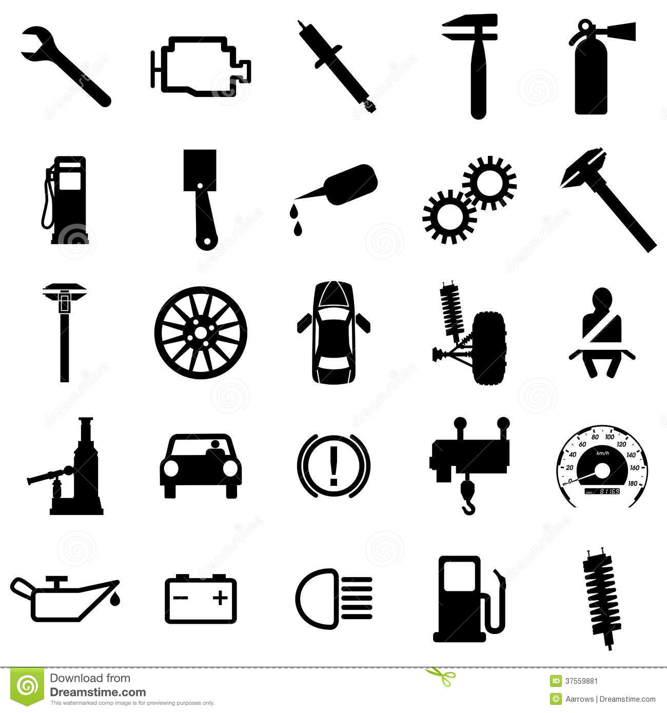 Collection Flat Icons Car Symbols Vector Stock Image