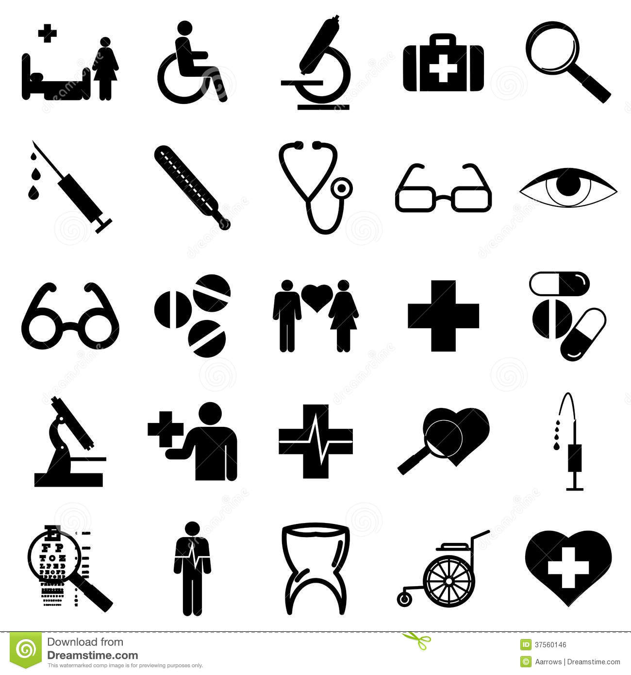 Collection Flat Icons Medicine Symbols Vector Stock