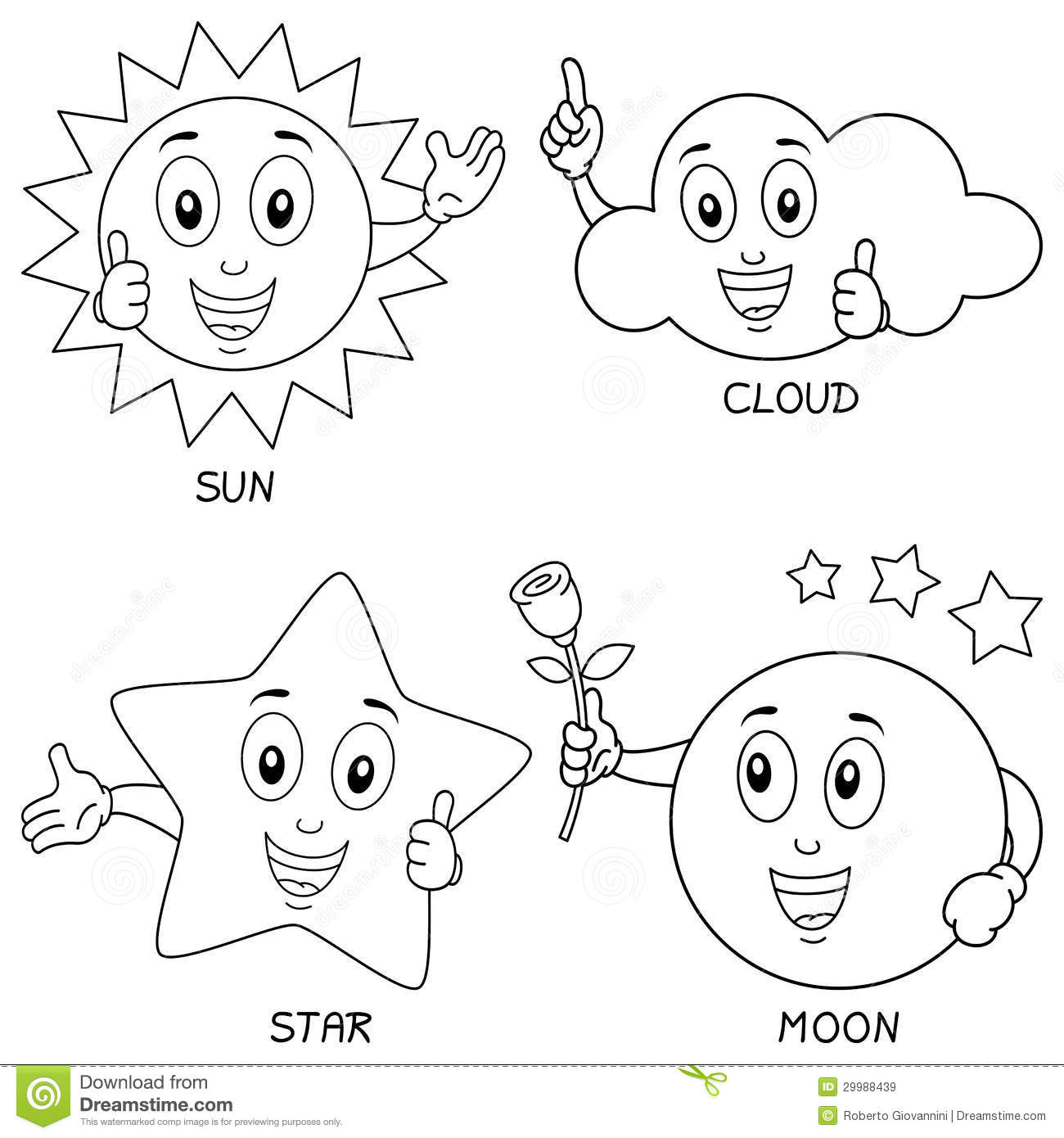Coloring Weather Characters Set Stock Vector