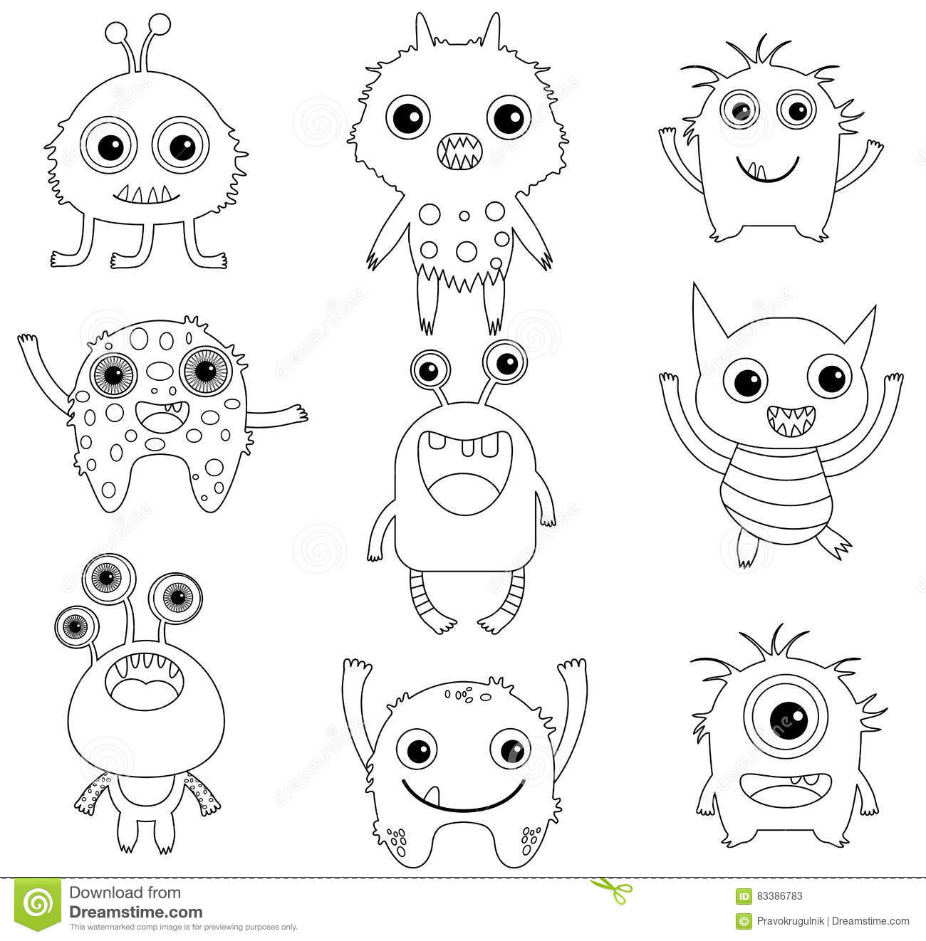 A Collection Of Funny And Cute Monsters Stock Vector