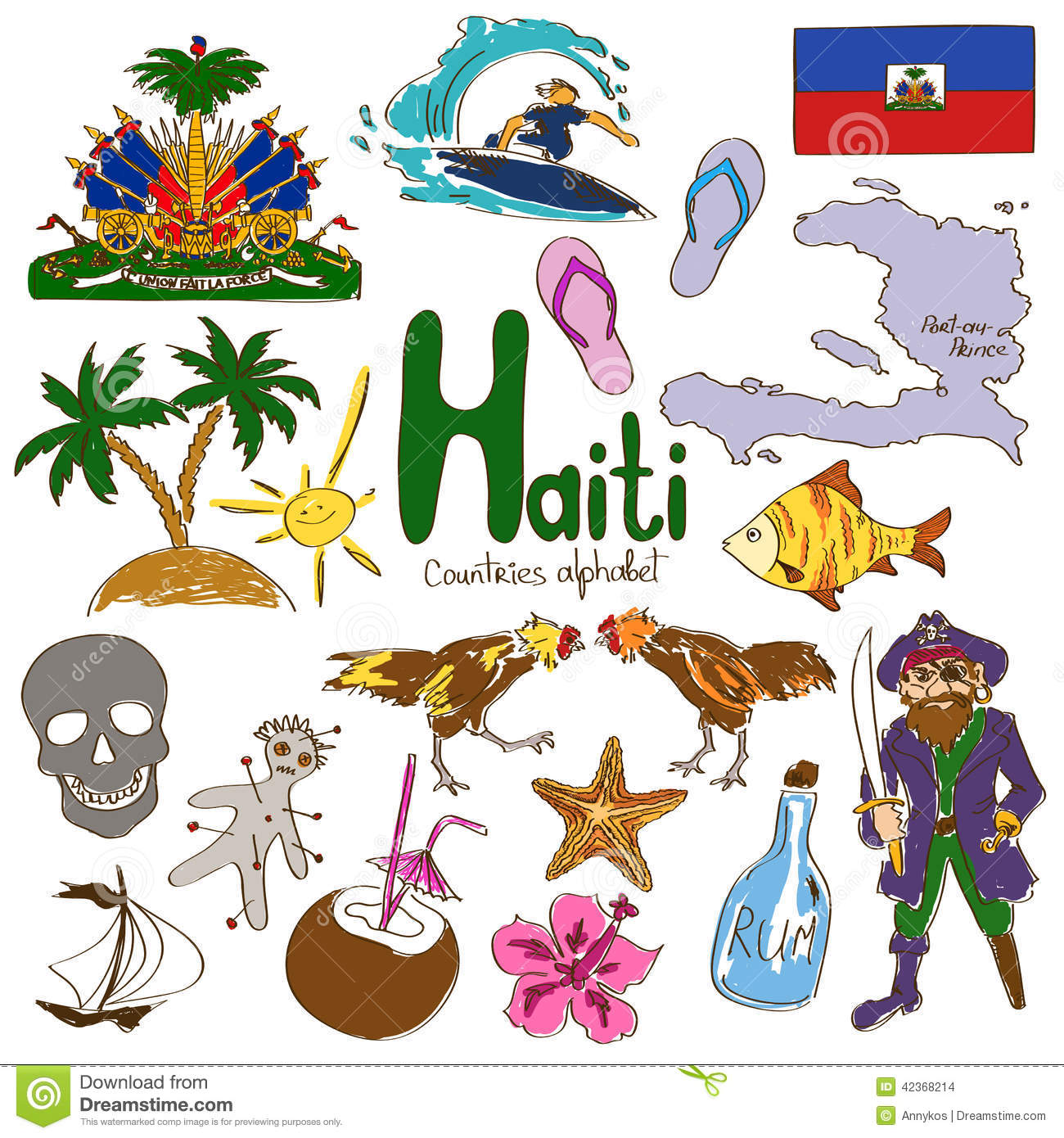 Collection Of Haiti Icons Stock Vector Illustration Of