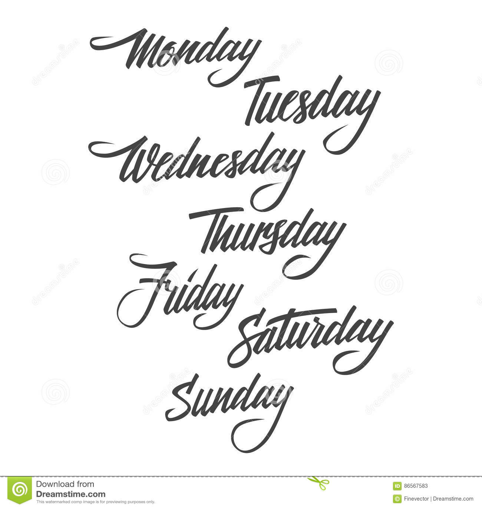 Handwritten Days Of The Week Cartoon Vector