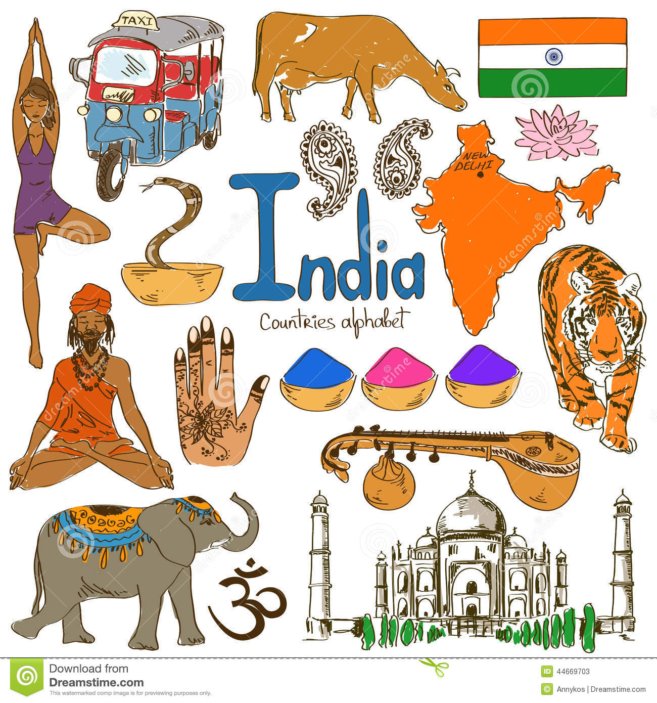 Collection Of India Icons Stock Vector
