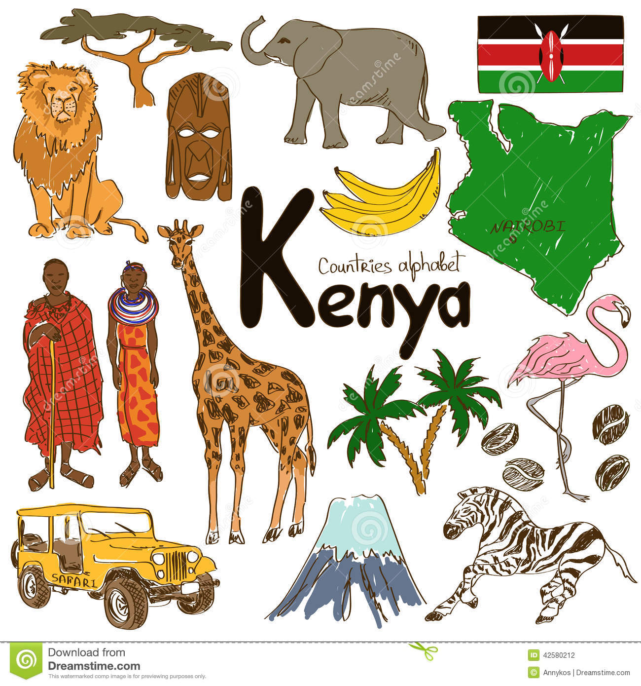 Collection Of Kenya Icons Stock Vector Illustration Of