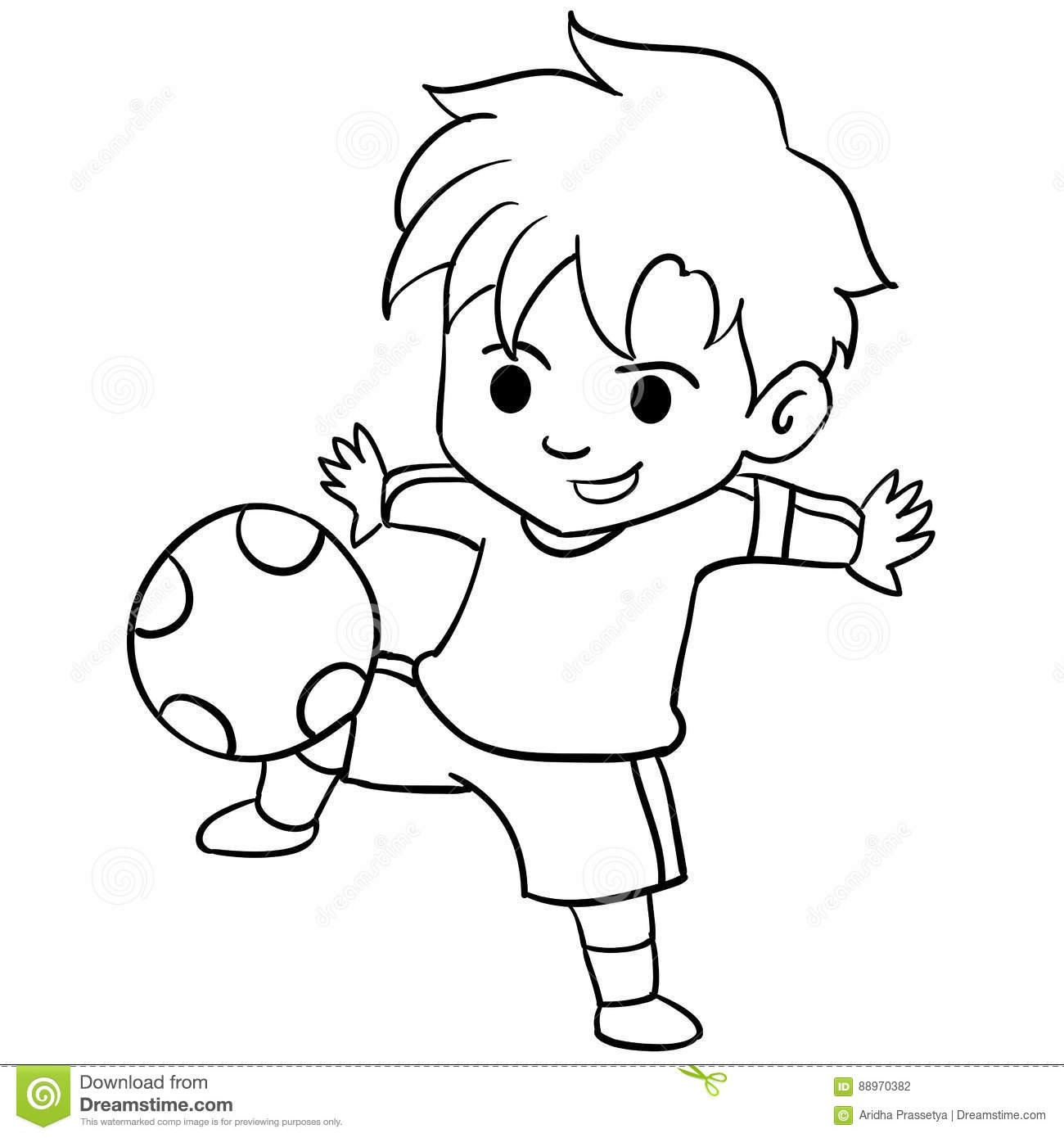 Collection Of Kid Playing Football Stock Vector