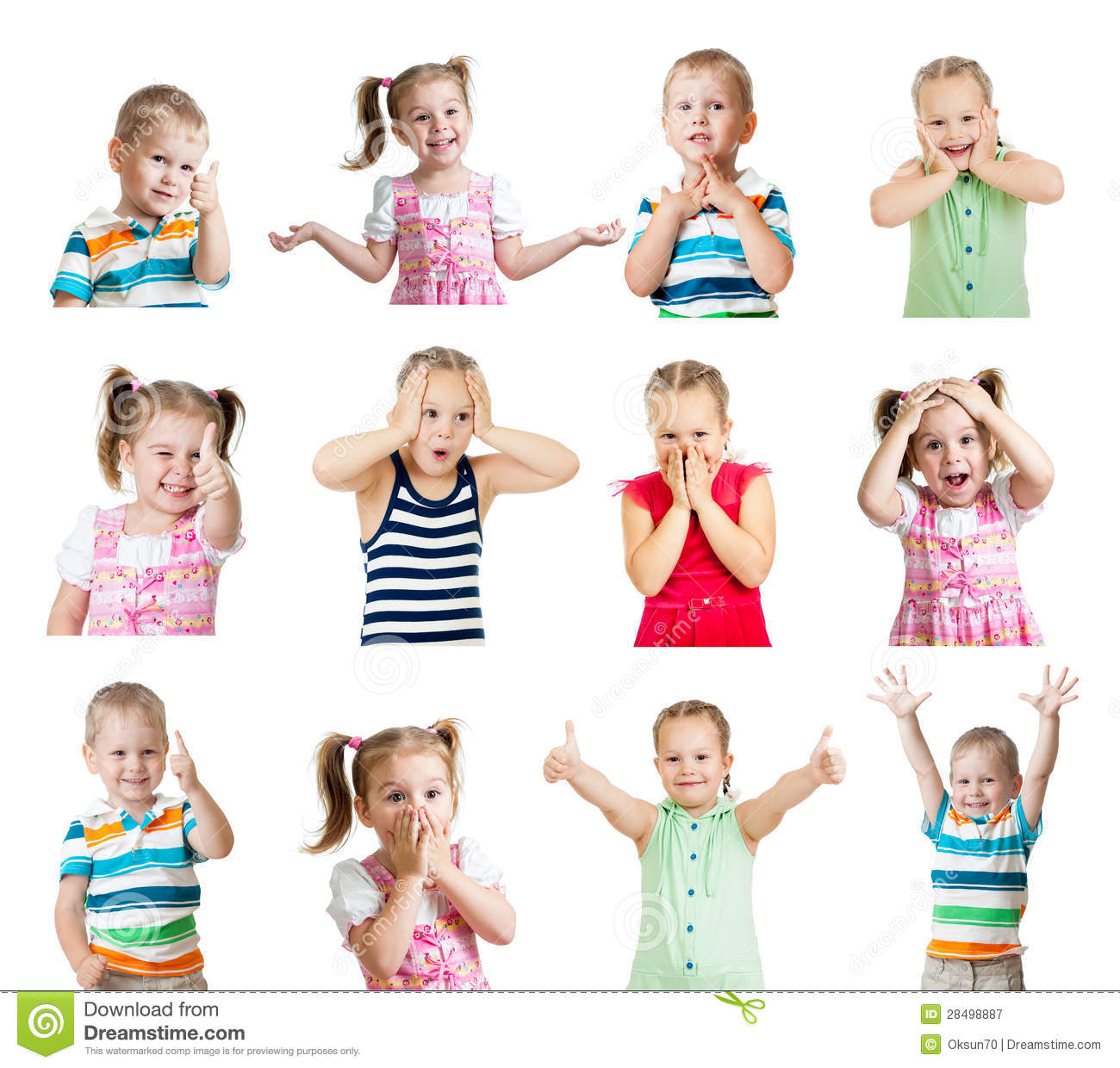Collection Of Kids With Different Emotions Isolated On