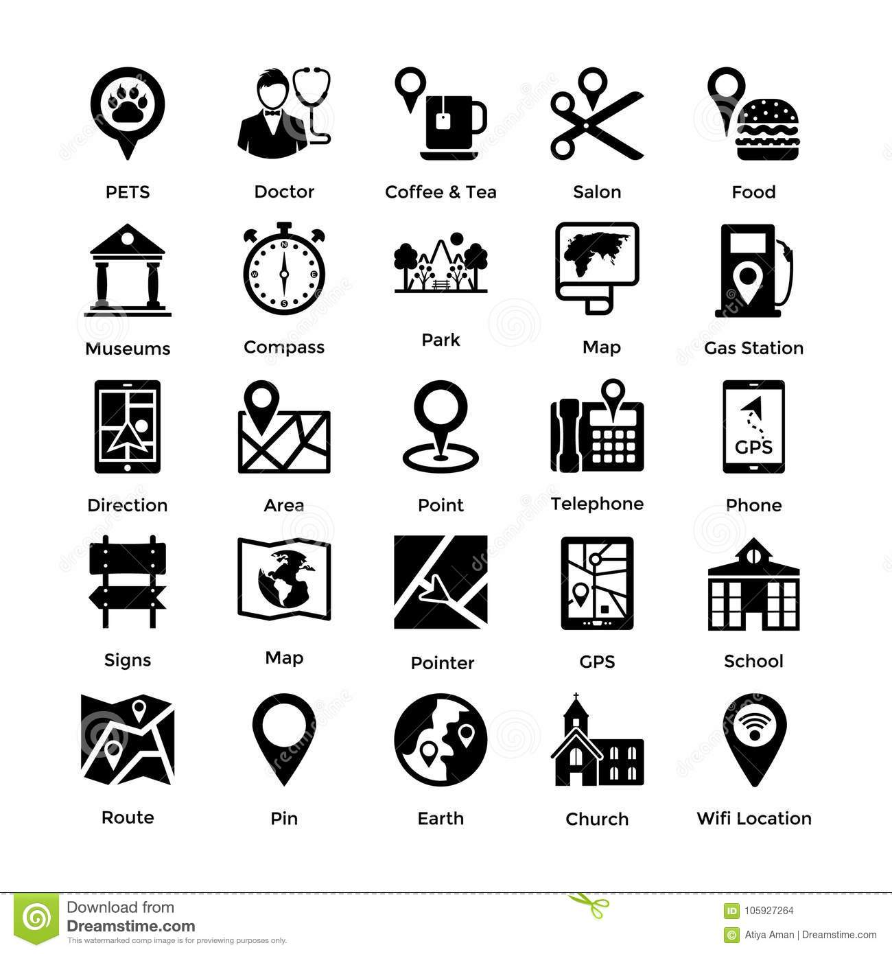 Collection Of Maps And Navigation Tools Icons Stock