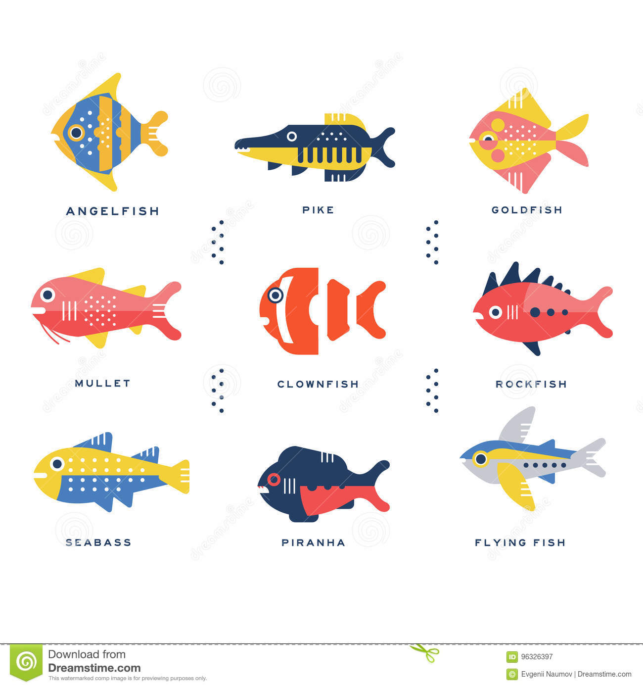 Collection Of Sea And Ocean Fish And Lettering Name In