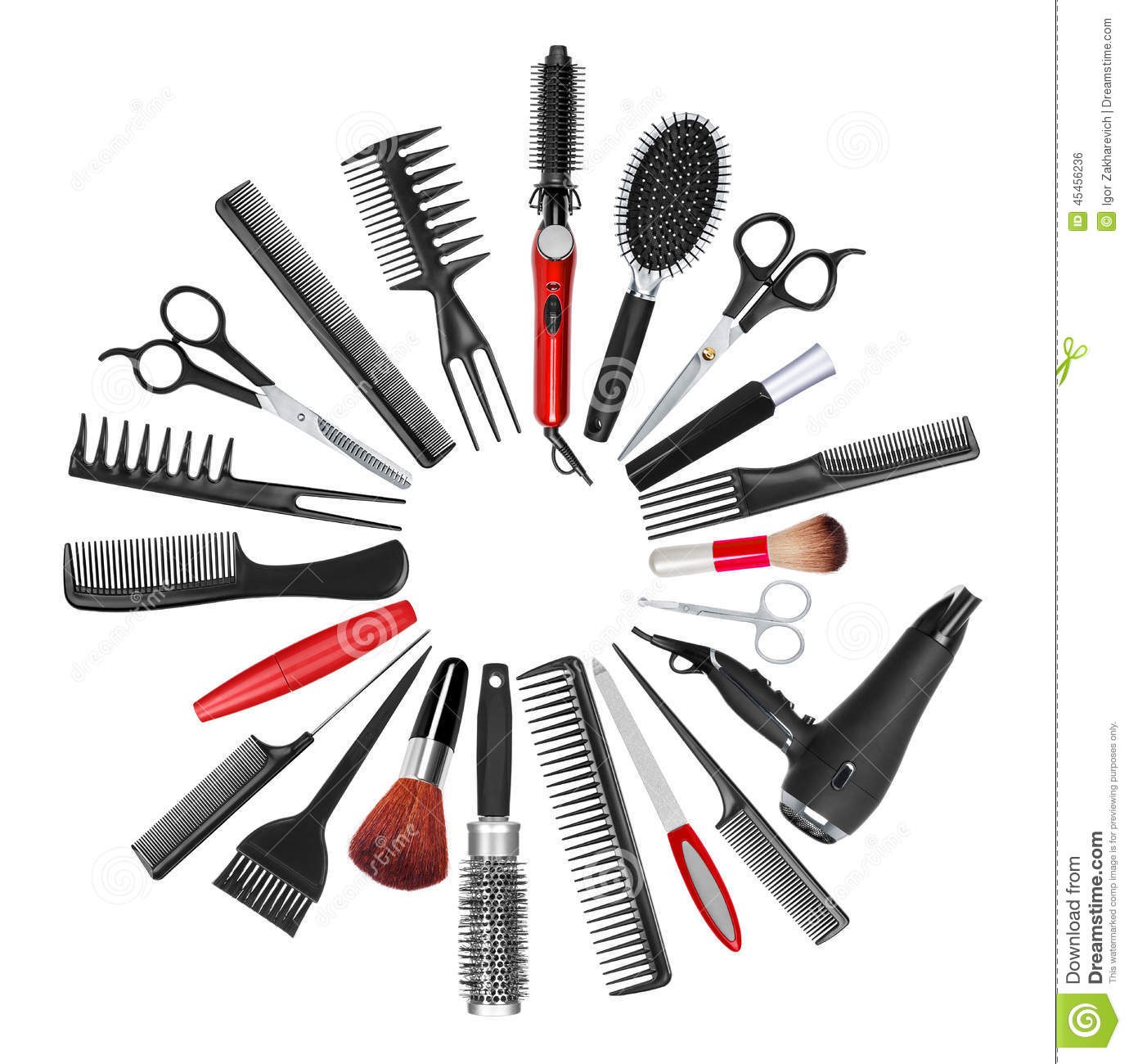 A Collection Of Tools For Professional Hair Stylist And