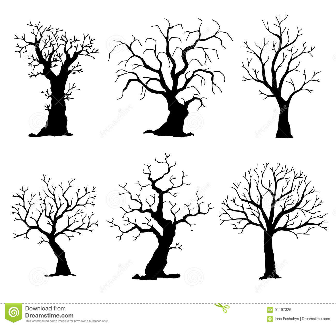 Collection Of Trees Silhouettes Vector Tree Isolated On