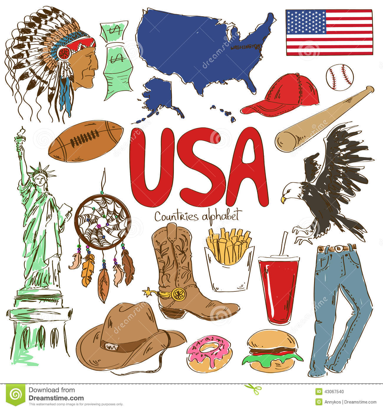 Collection Of Usa Icons Stock Vector