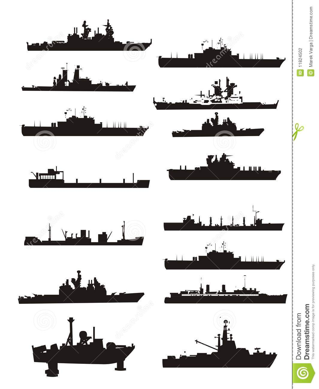 Collection Vector Boat And Ship Outlines Stock Photography