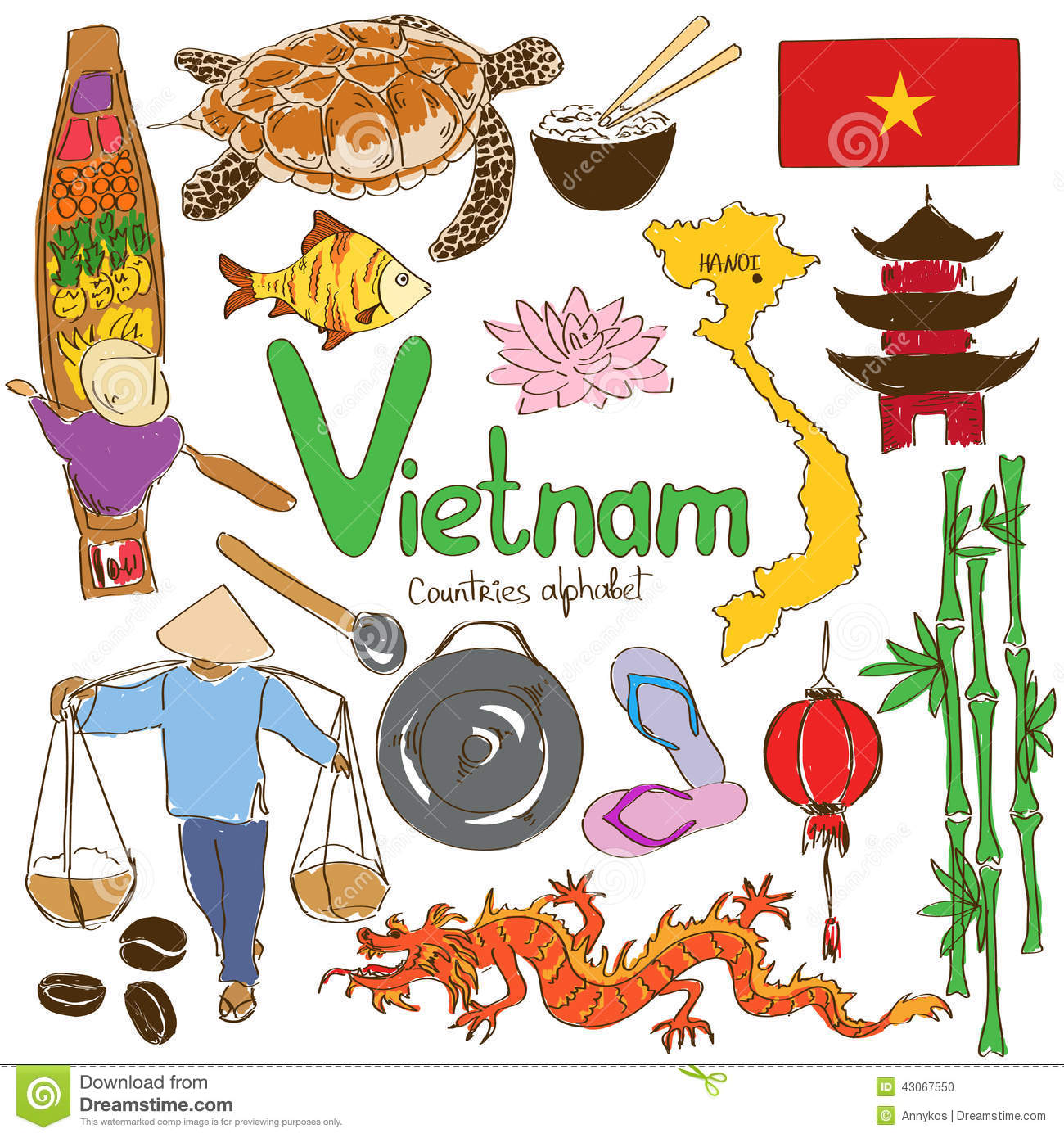 Collection Of Vietnamese Icons Stock Vector