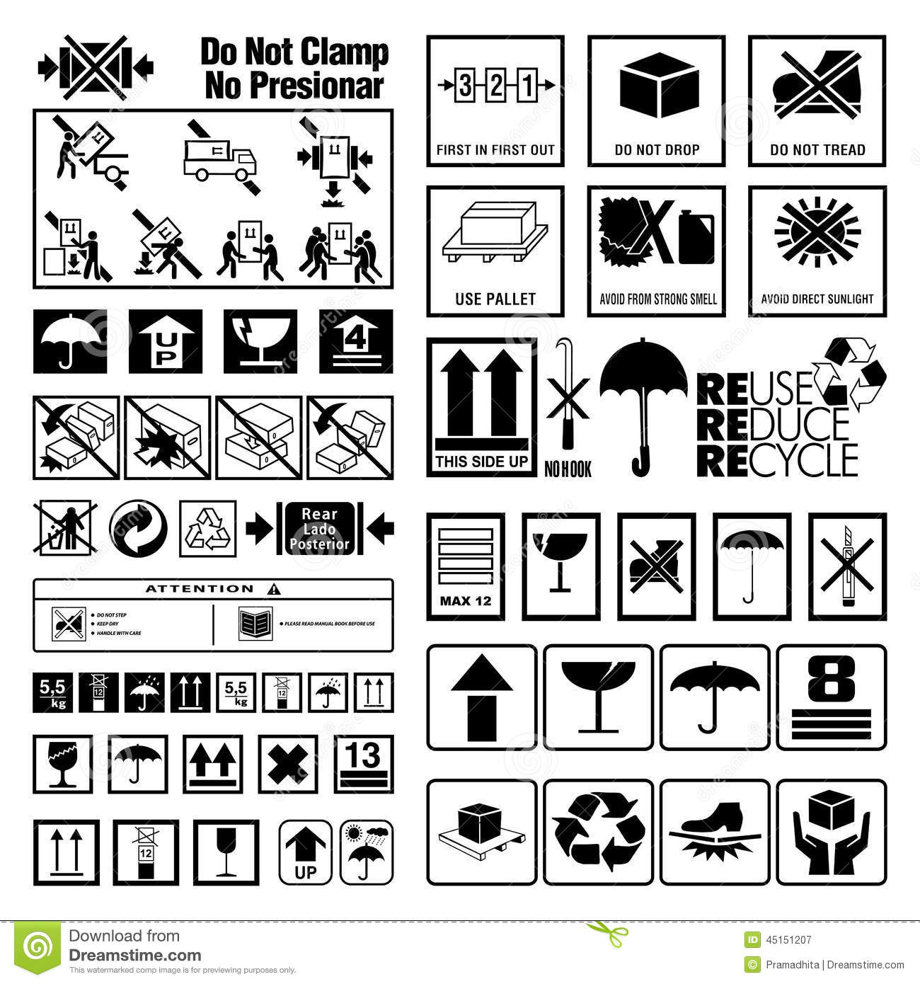 Collection Of Warning And Instruction Symbols Stock Vector