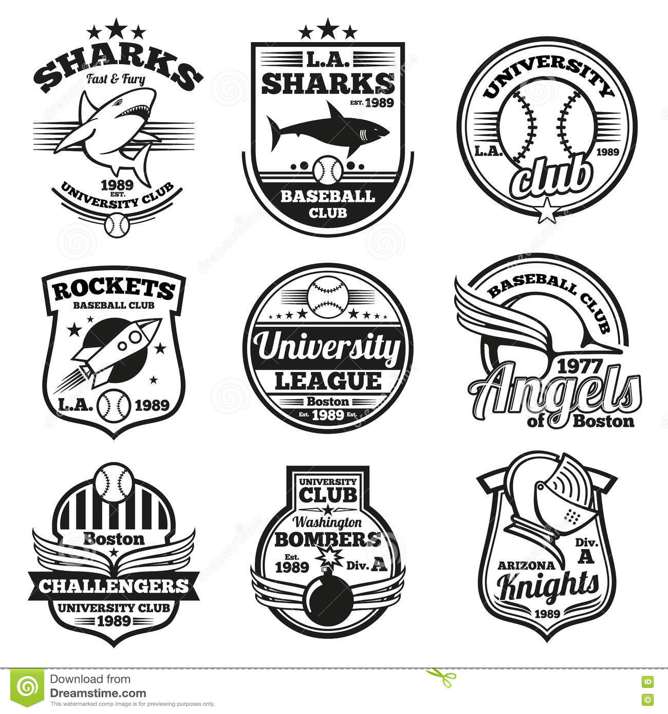 College Athletic Vector Labels Logos Badges And Emblems