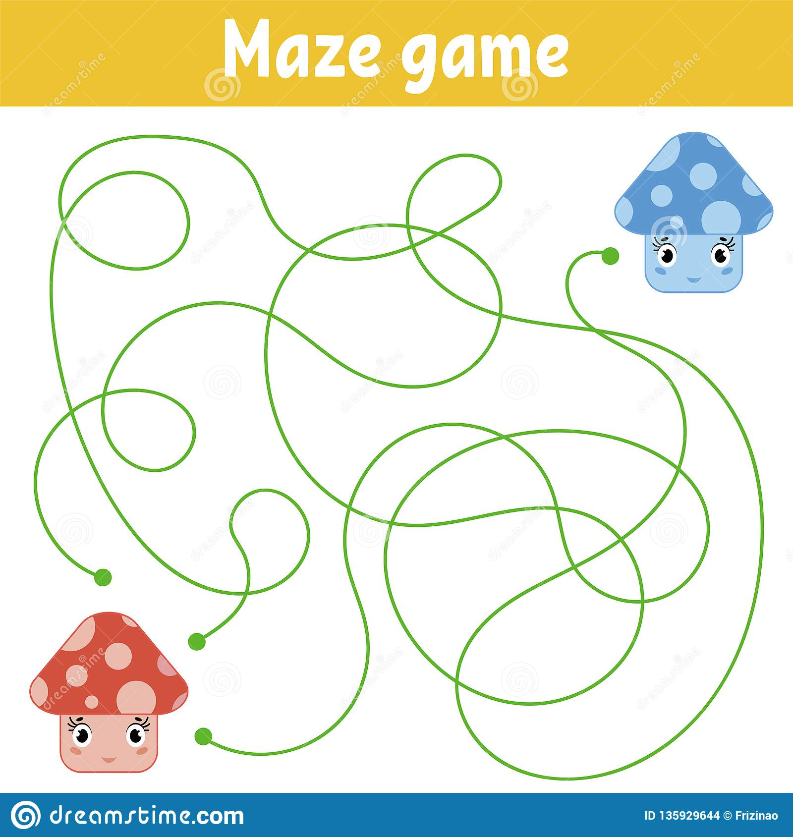 Color Abstract Maze Help The Red Mushroom To Reach The