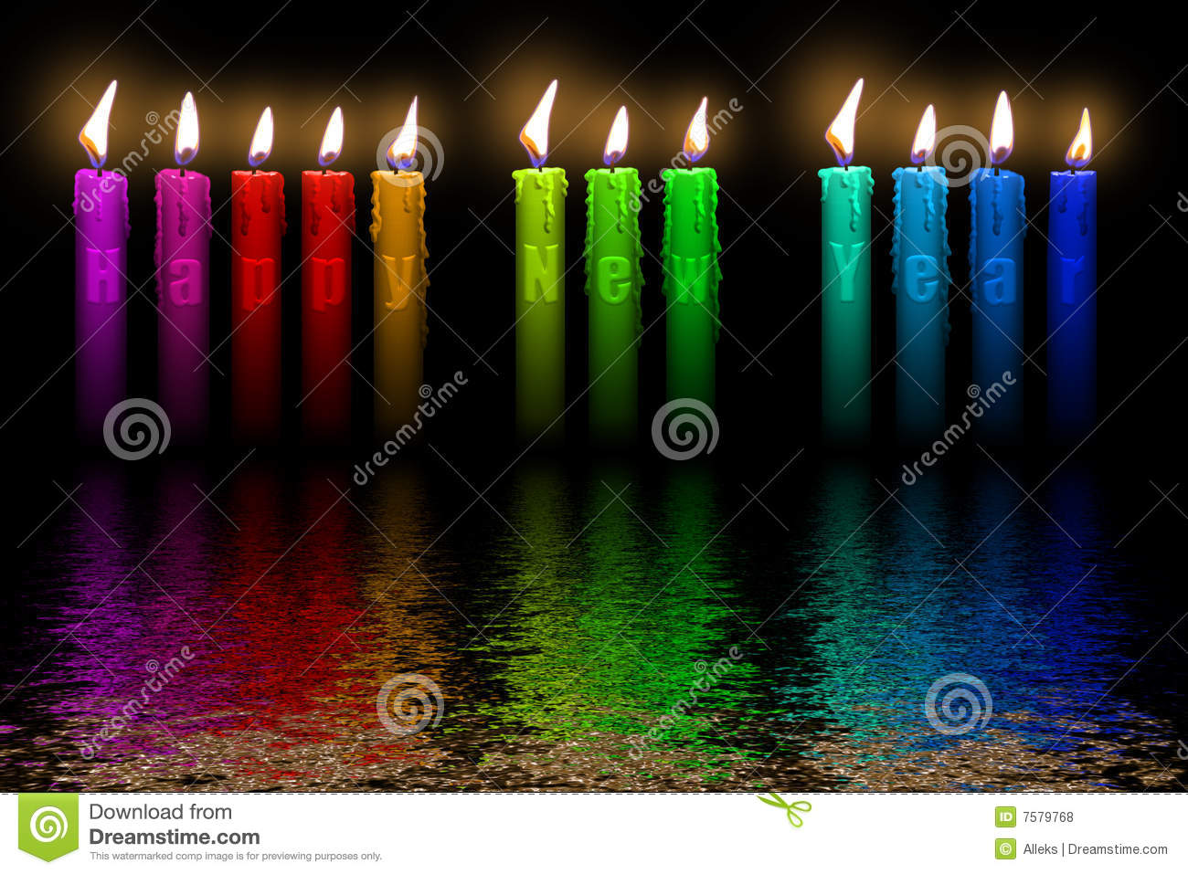 Color Candles Happy New Year Flooding In Water Stock Illustration     Download Color Candles Happy New Year Flooding In Water Stock Illustration    Illustration of cake