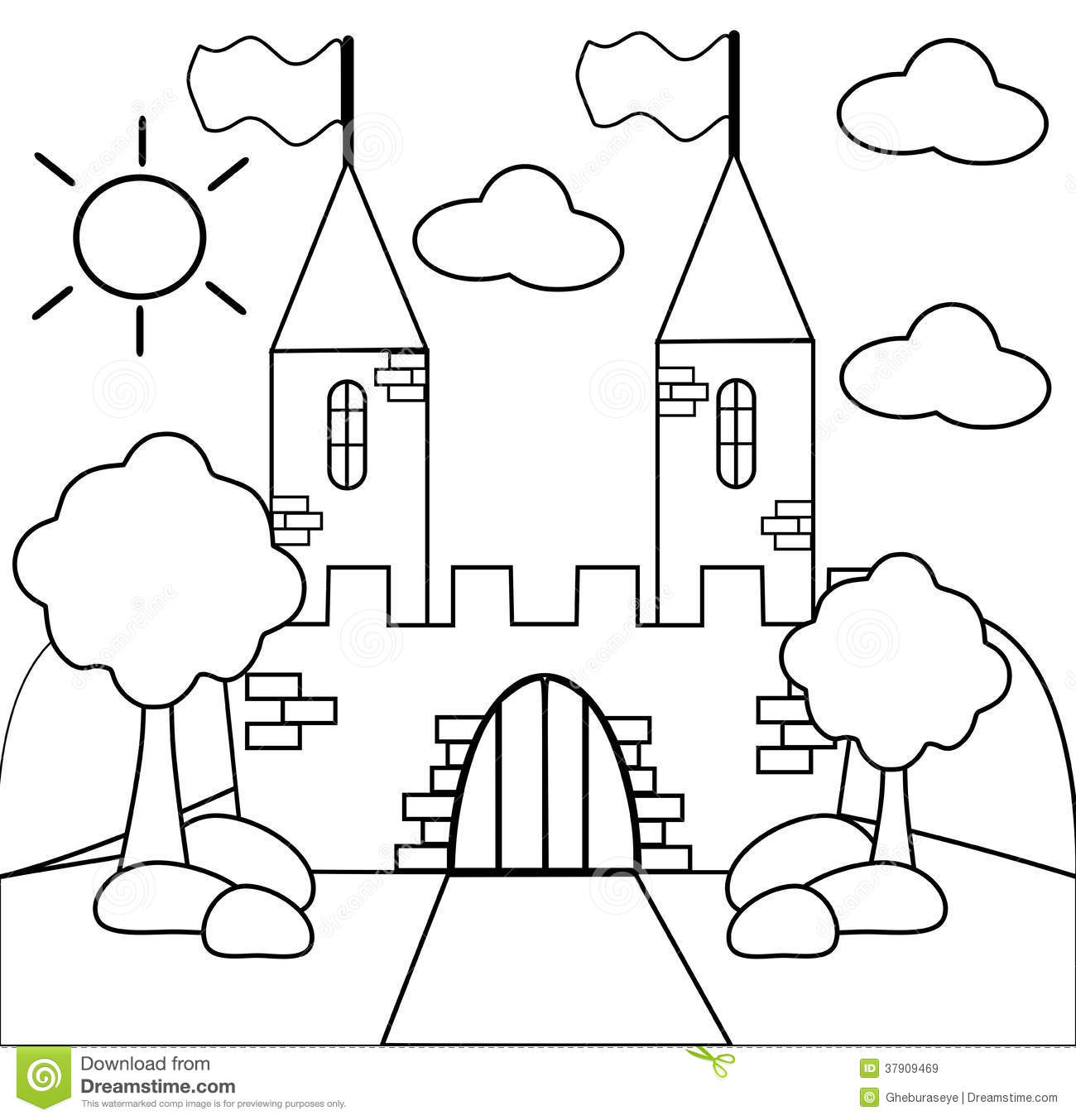 Coloring The Castle In Black And White Royalty Free Stock Images