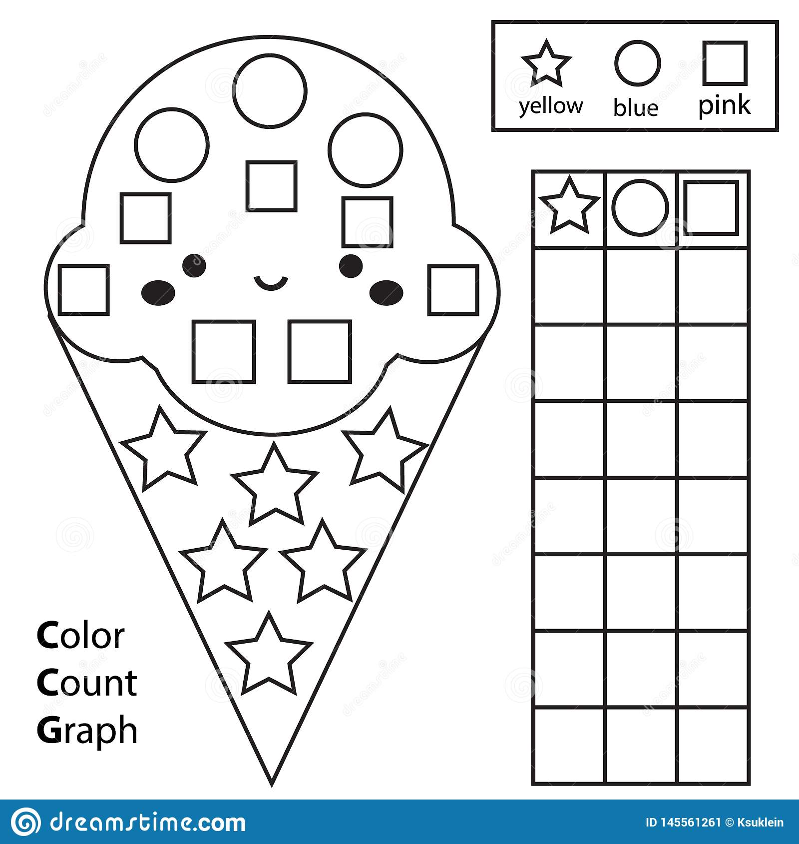 Color Count And Graph Educational Children Game Color Ice Cream And Counting Shapes