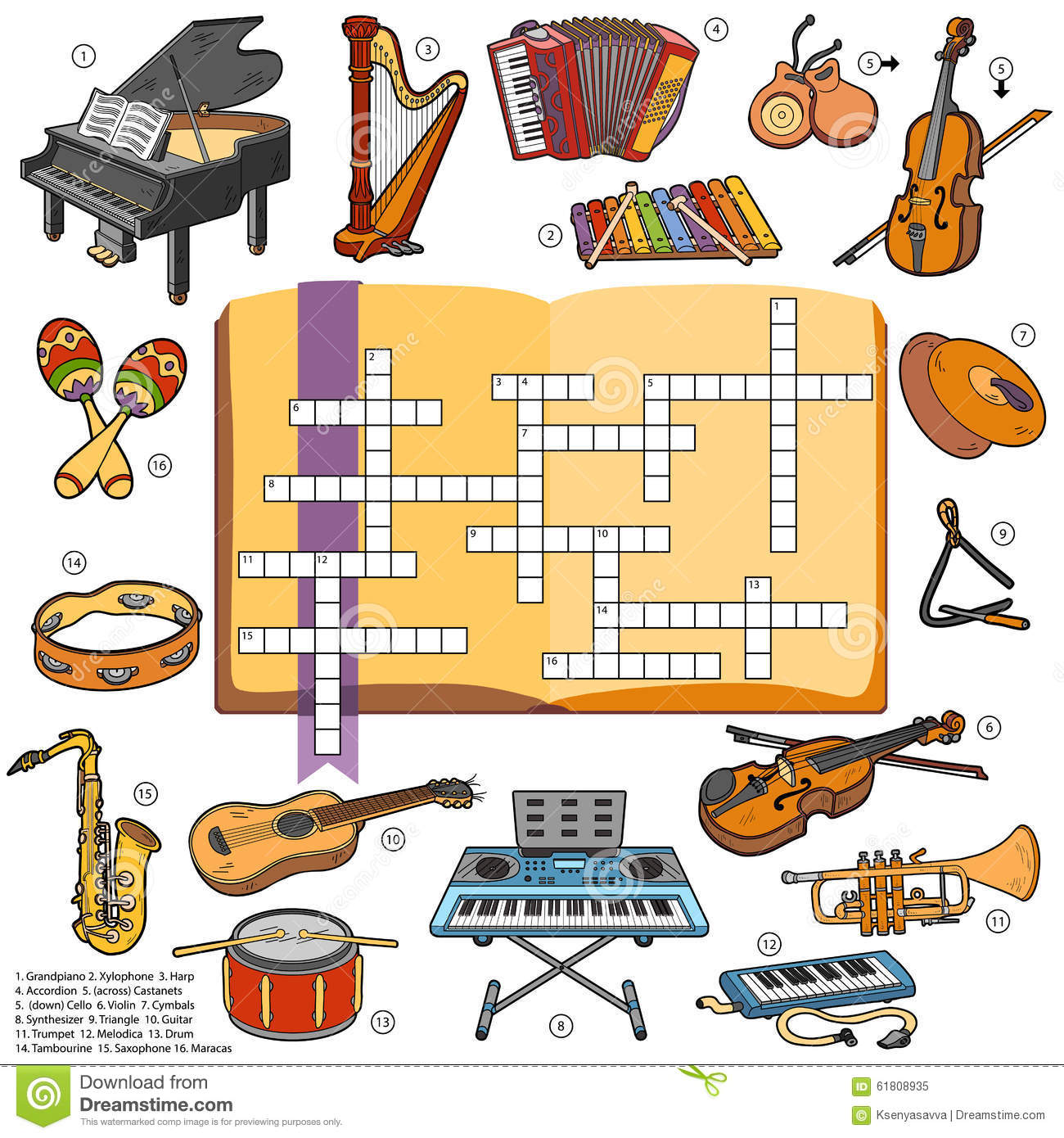 Color Crossword Game For Children About Music Instruments
