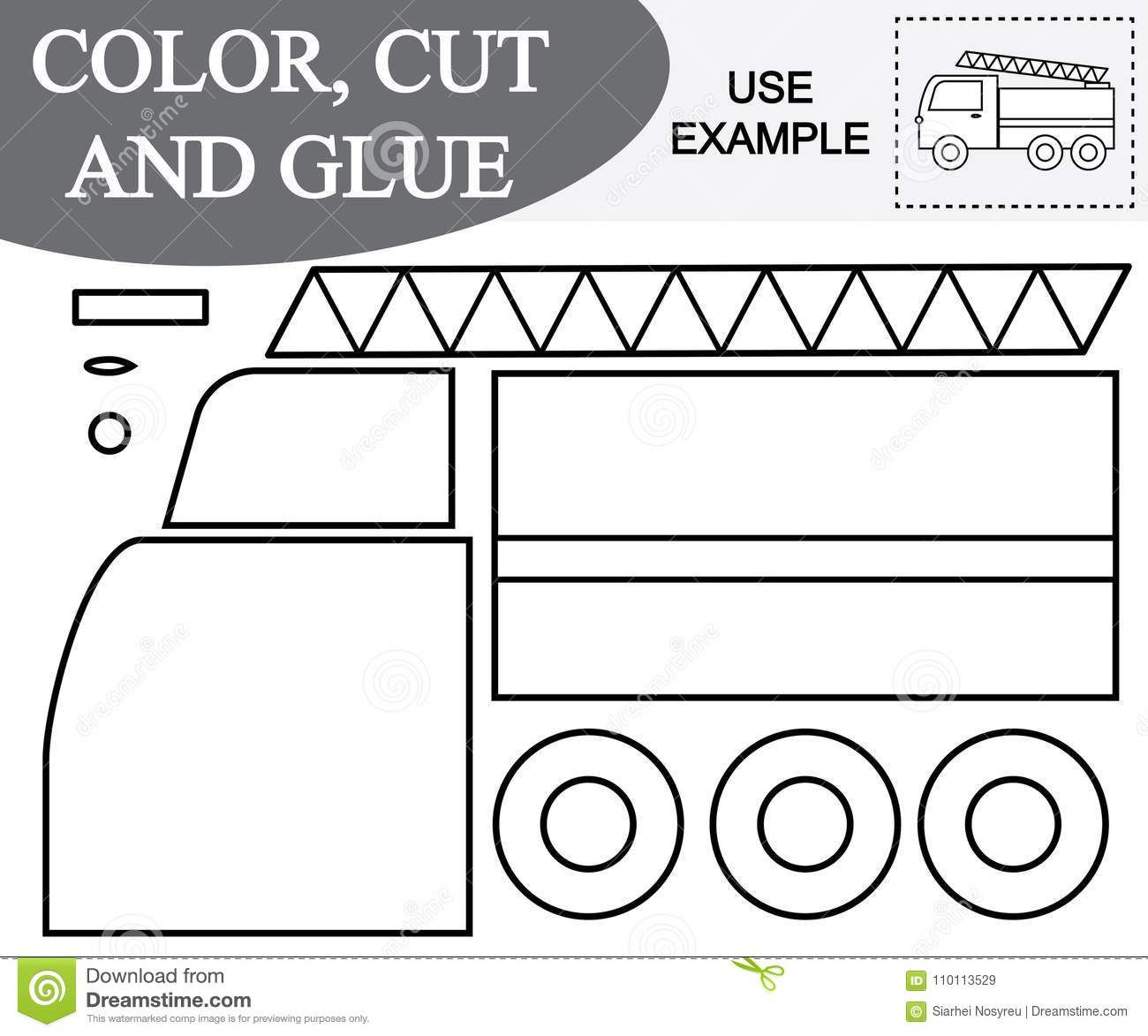 Color Cut And Glue Image Of Fire Escape Car Educational Game For Children Stock Vector