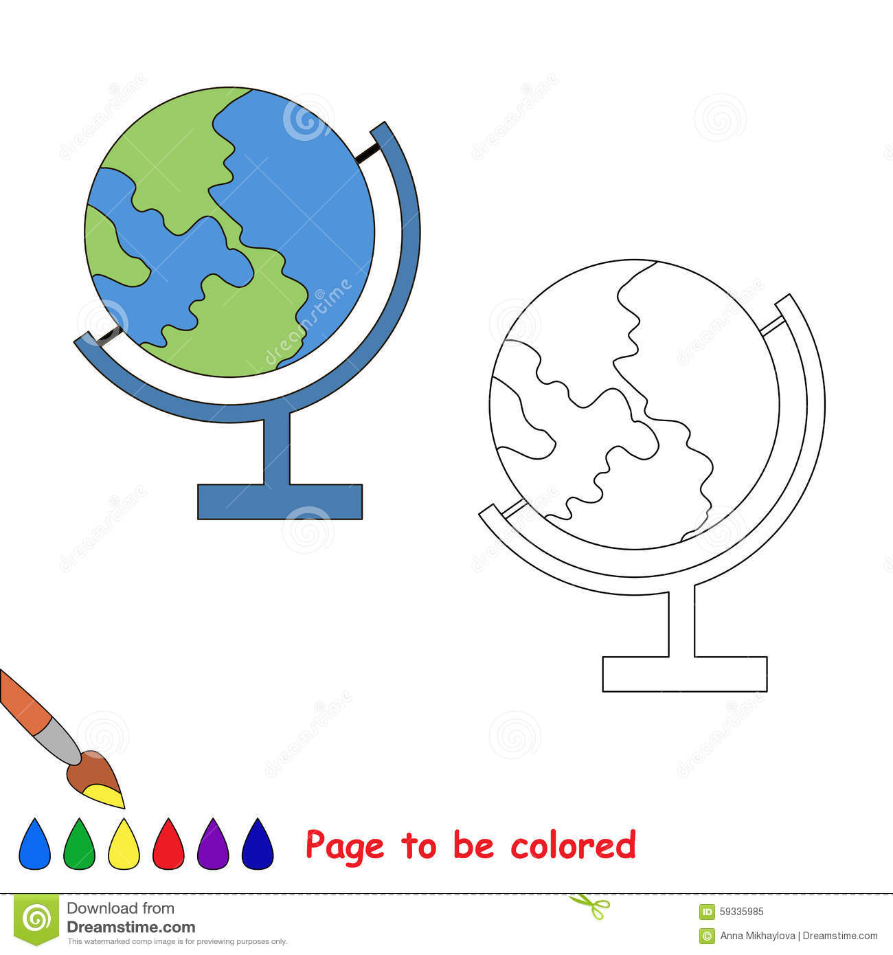 Color The Earth By Sample Stock Vector