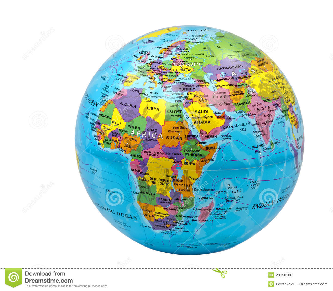 Color Globe Of Earth On White Background Stock Photo