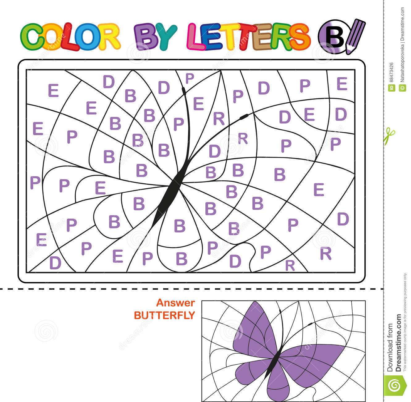 Color By Letter Puzzle For Children Butterfly Stock Vector