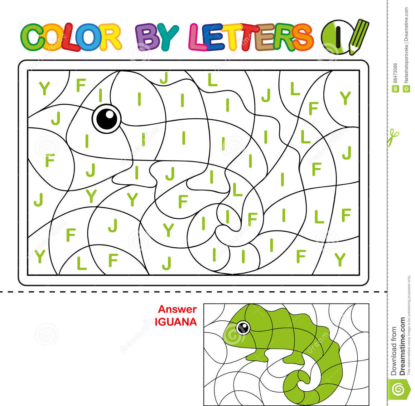 Color By Letter Puzzle For Children Iguana Stock Vector