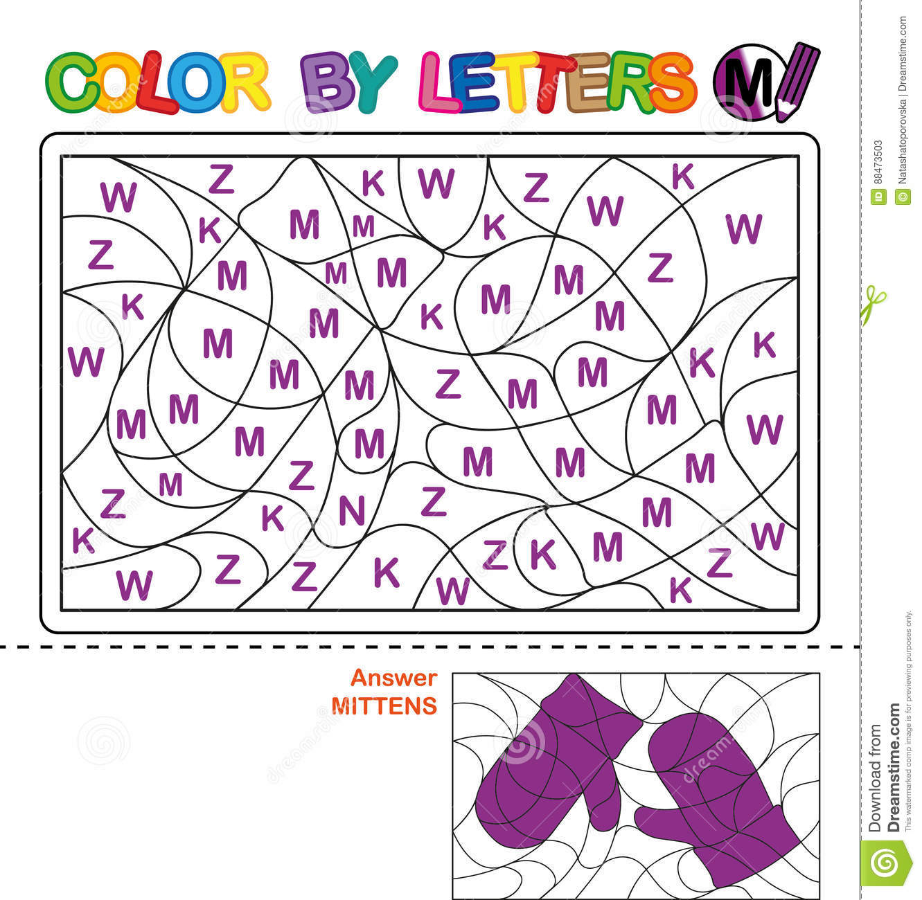 Color By Letter Puzzle For Children Mittens Stock Vector