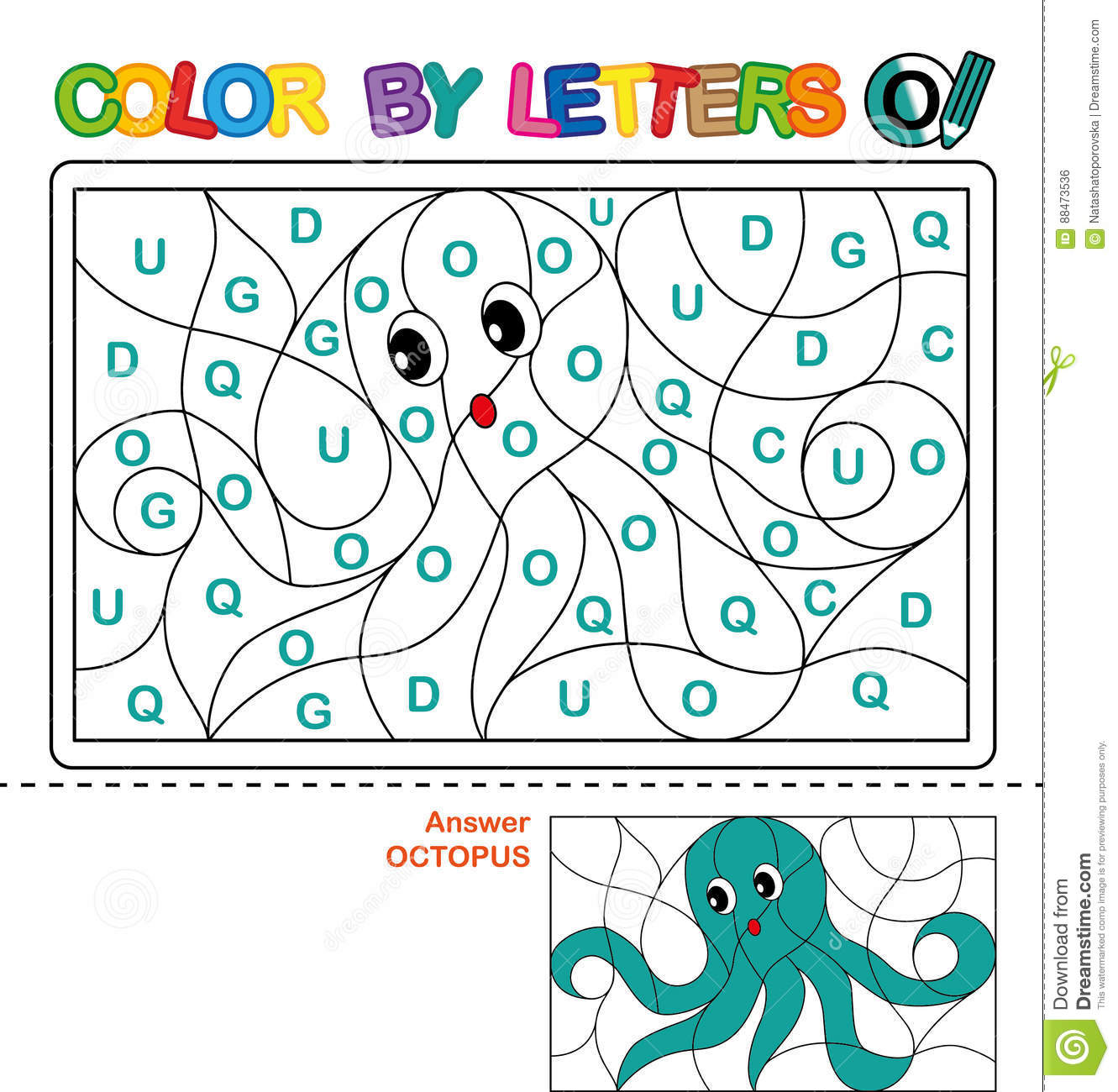 Color By Letter Puzzle For Children Octopus Stock Vector