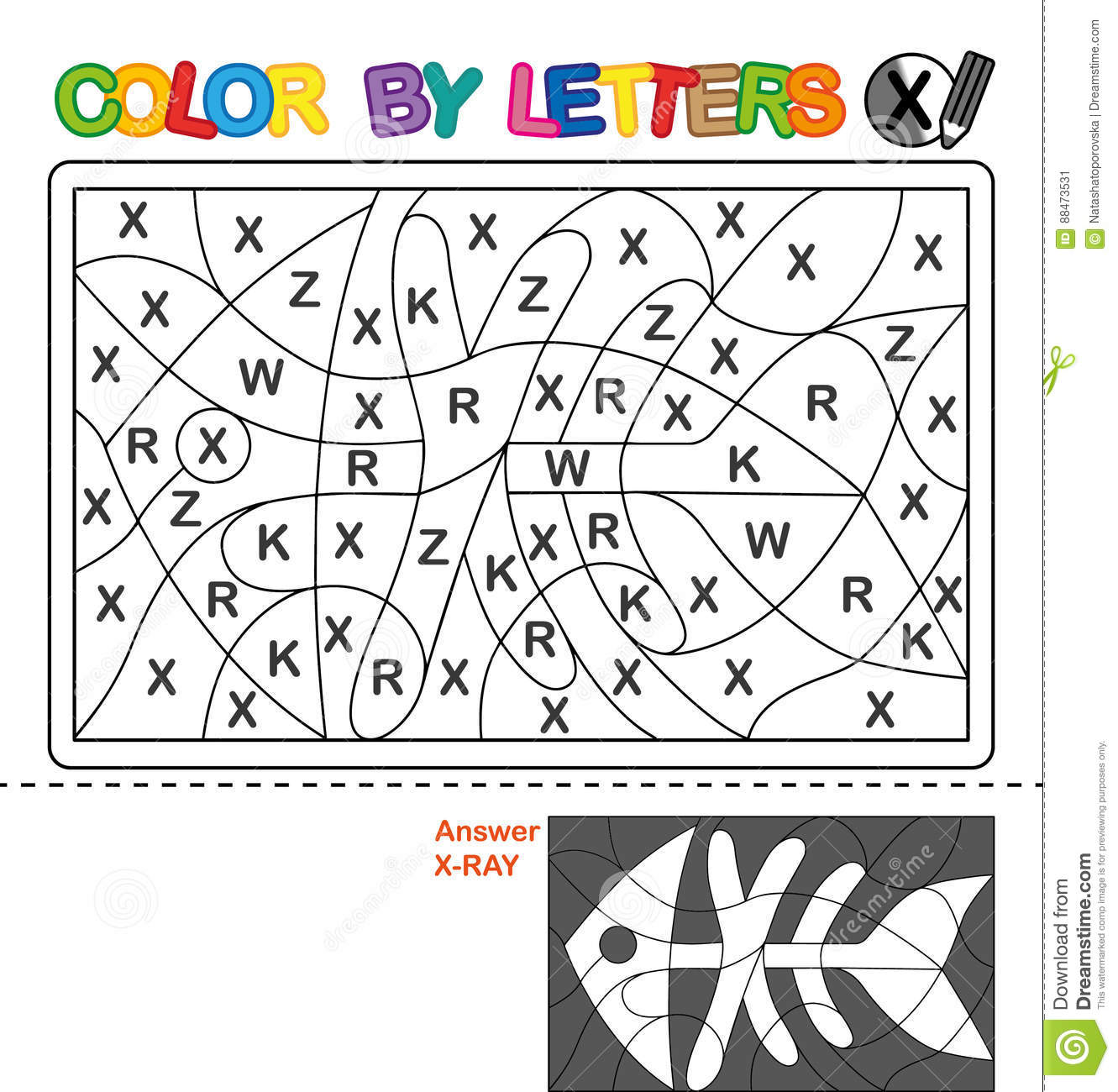 Color By Letter Puzzle For Children X Ray Stock Vector