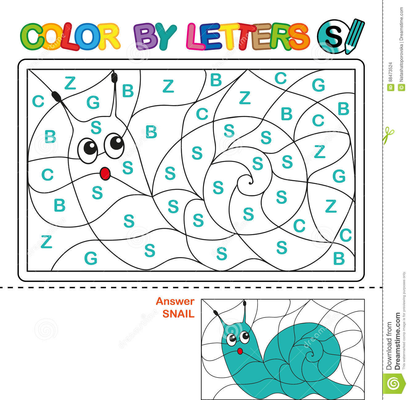 Color By Letter Puzzle For Children Snail Stock Vector