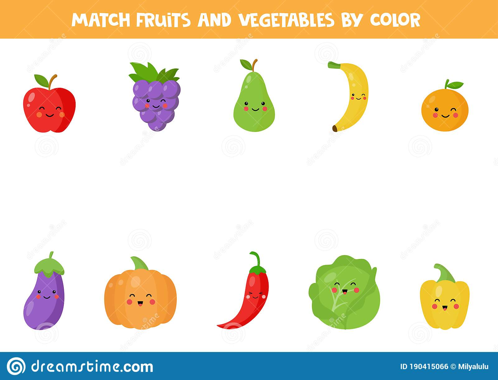 Color Matching Game With Cute Kawaii Fruits And Vegetables