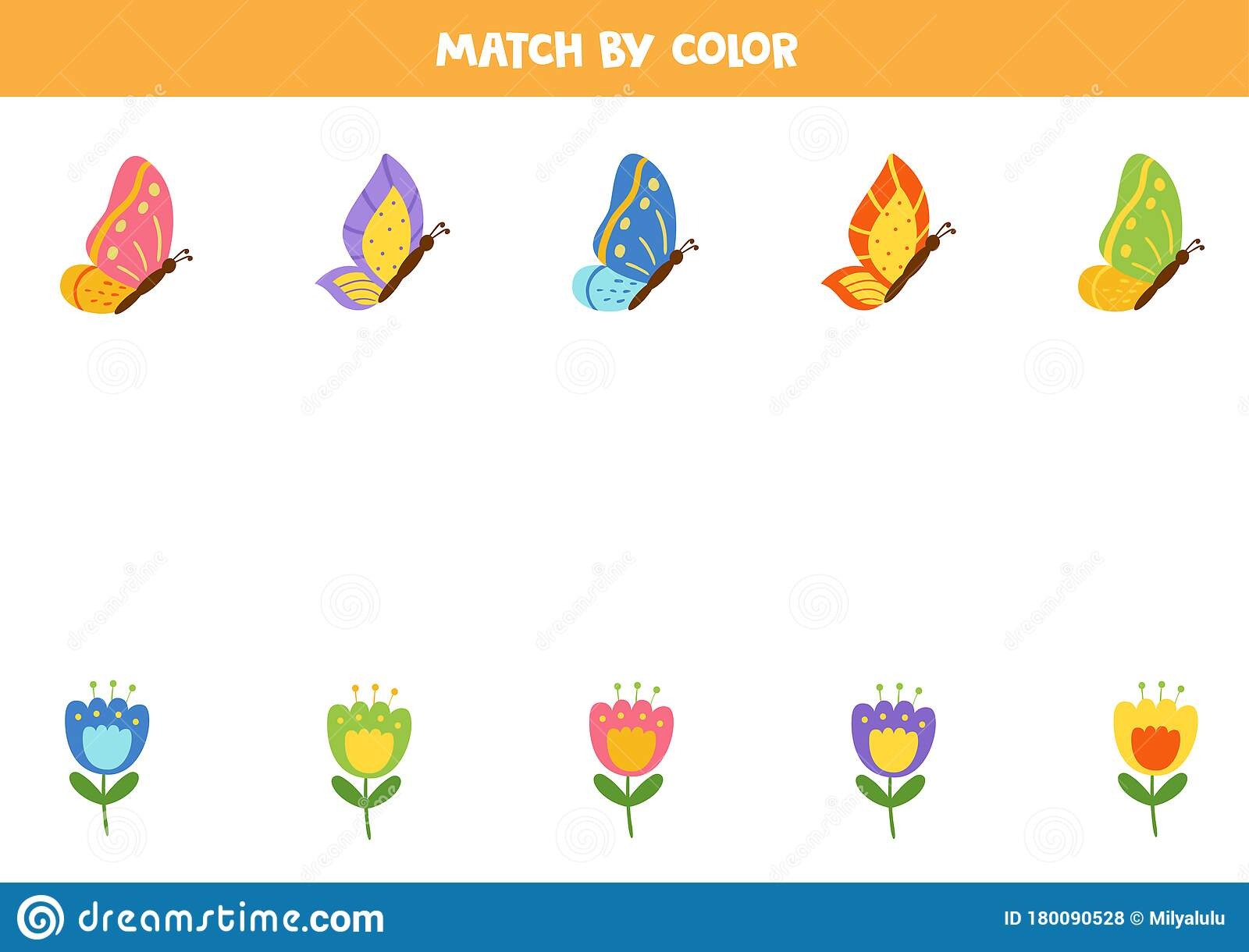 Color Matching Game For Kids Match Butterflies And