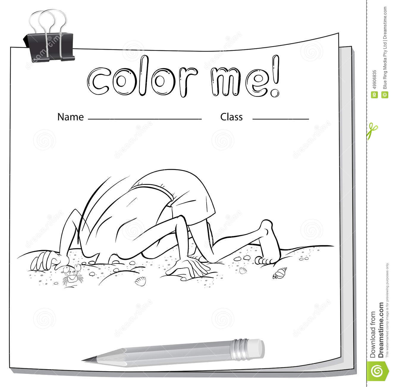 A Color Me Worksheet With A Boy And A Pencil Stock Vector