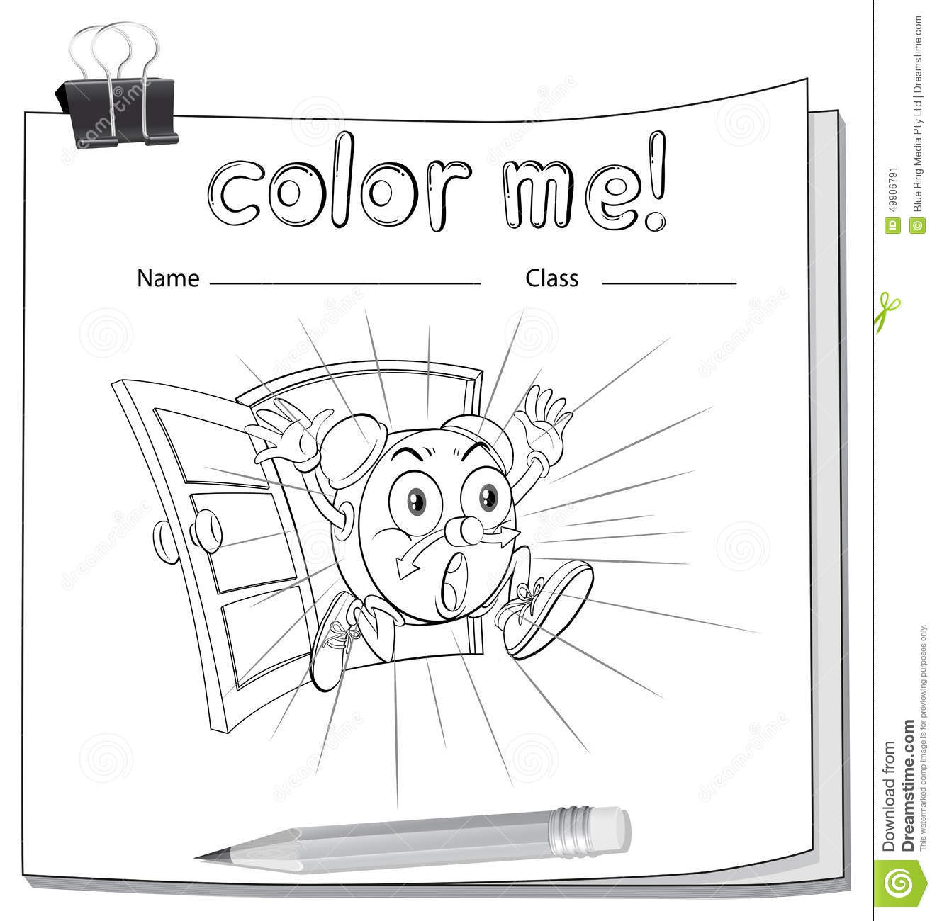 A Color Me Worksheet With A Clock Stock Vector
