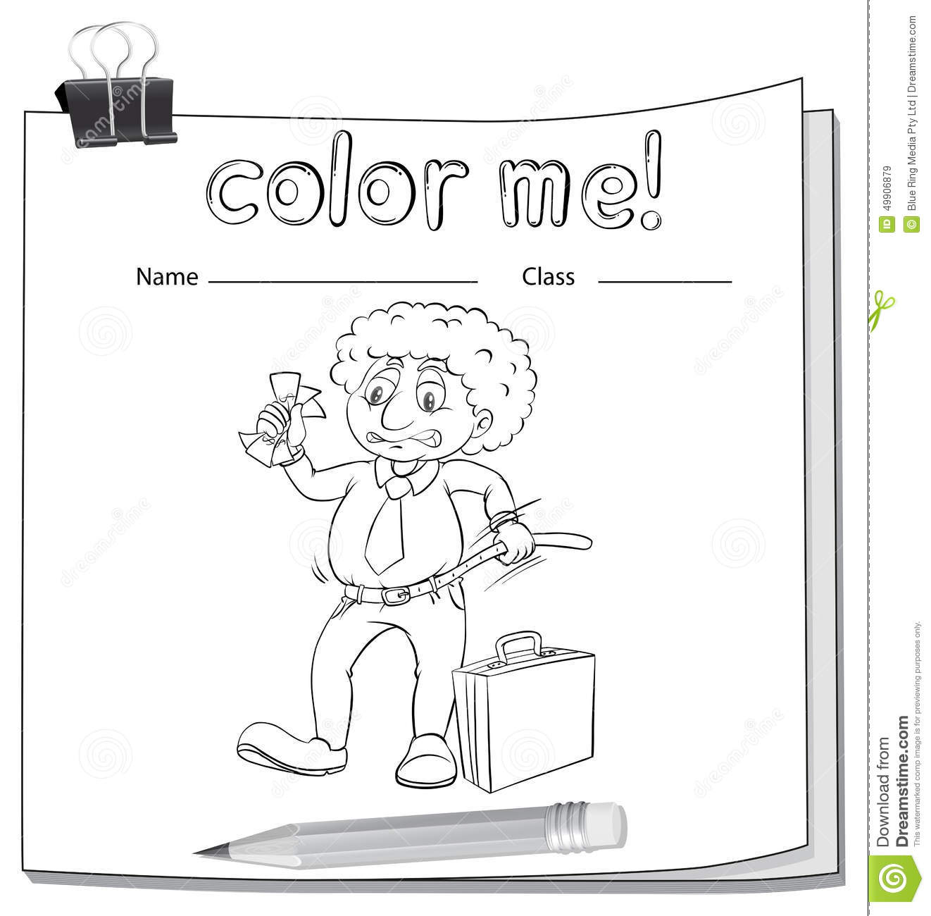 A Color Me Worksheet With A Man Stock Vector