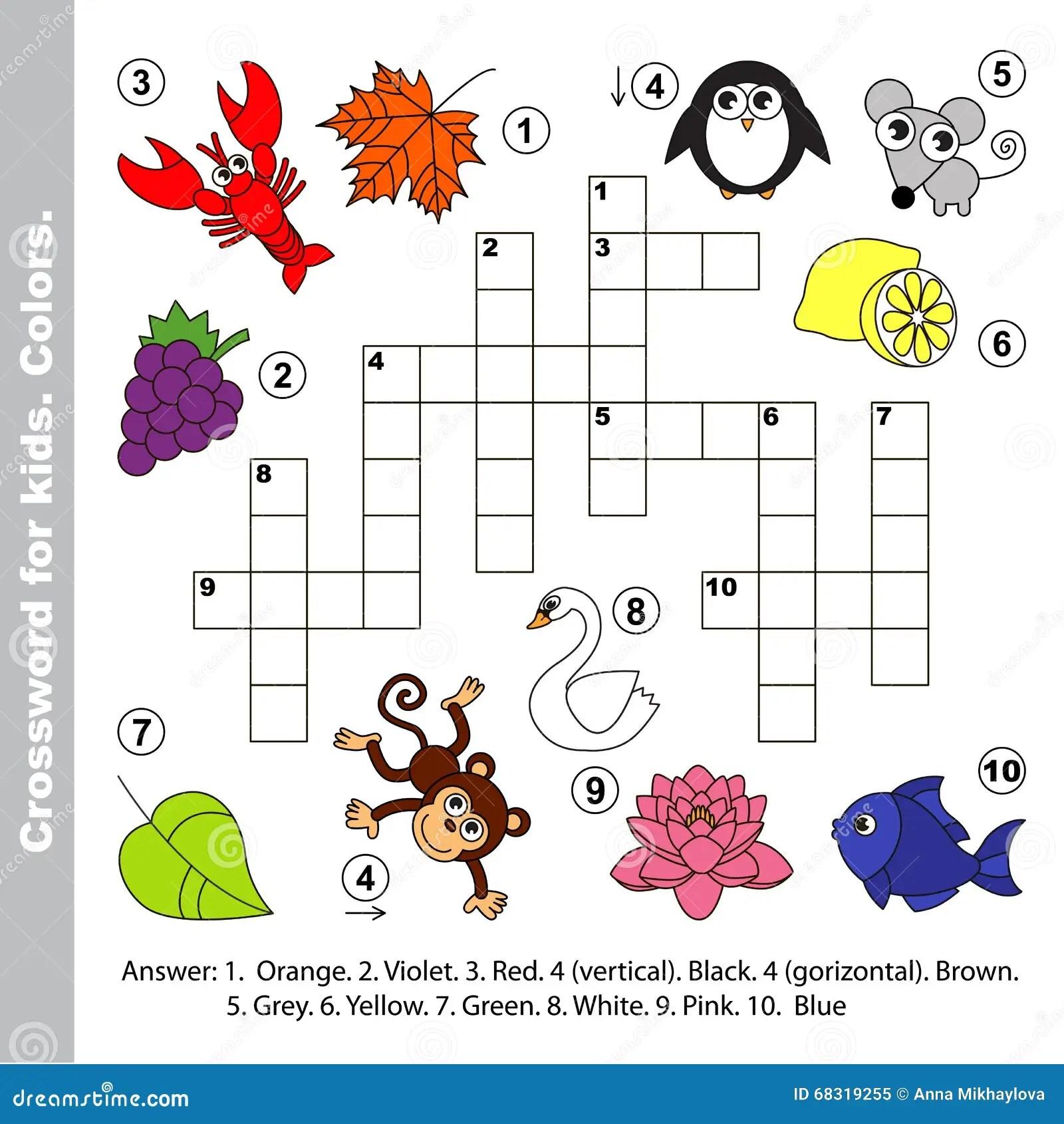 Color Names Crossword For Kids Stock Vector
