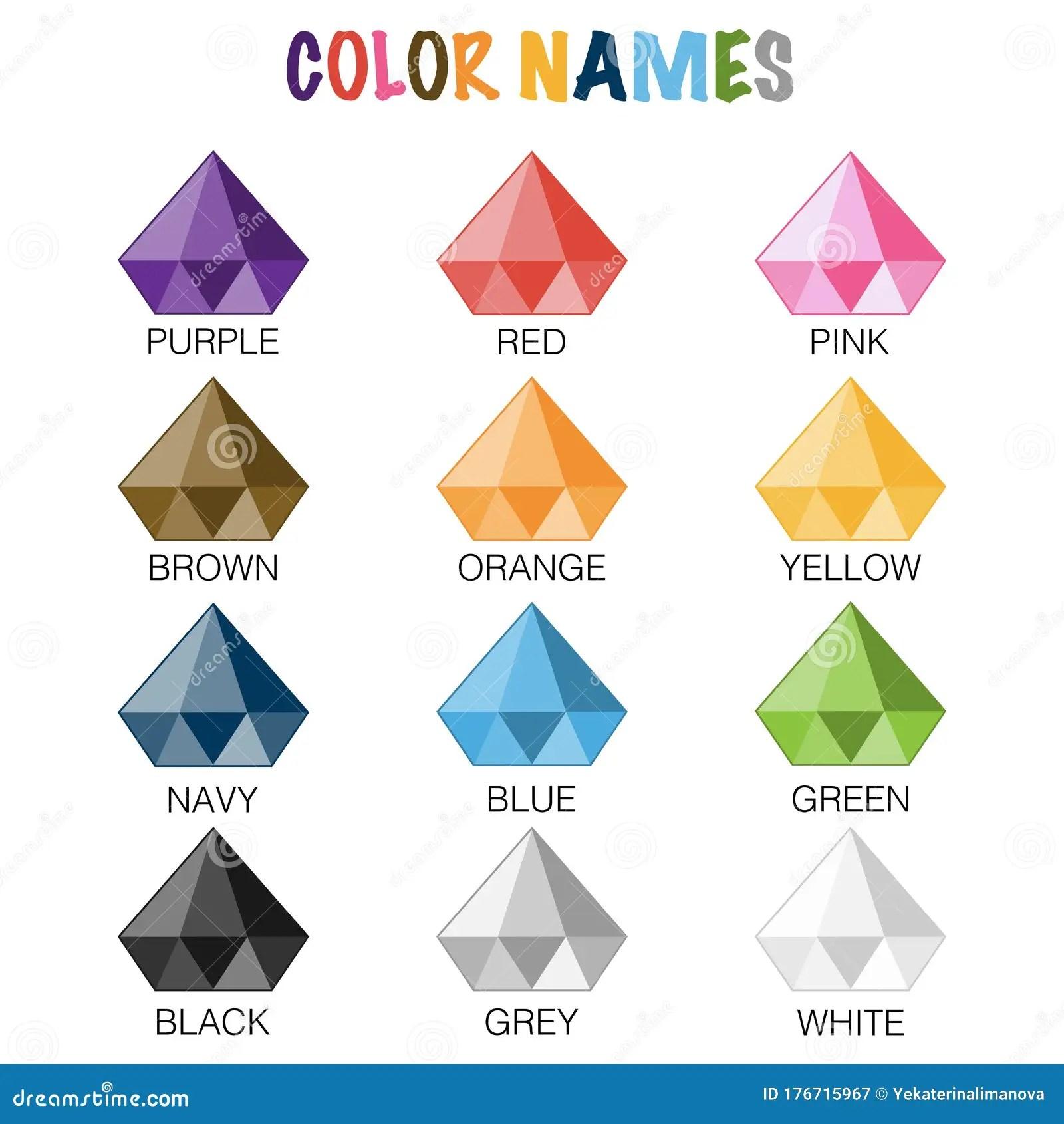 Color Names Educaional Worksheet For Preschool Stock