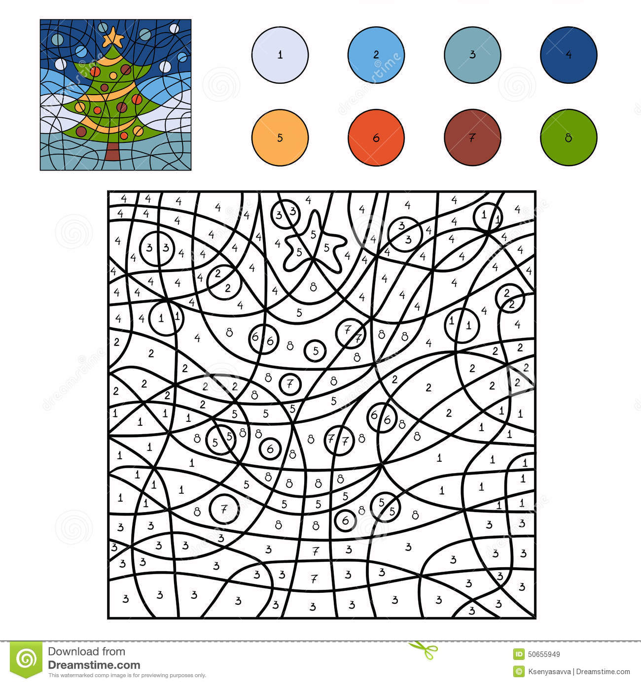Color By Number Christmas Tree Stock Vector