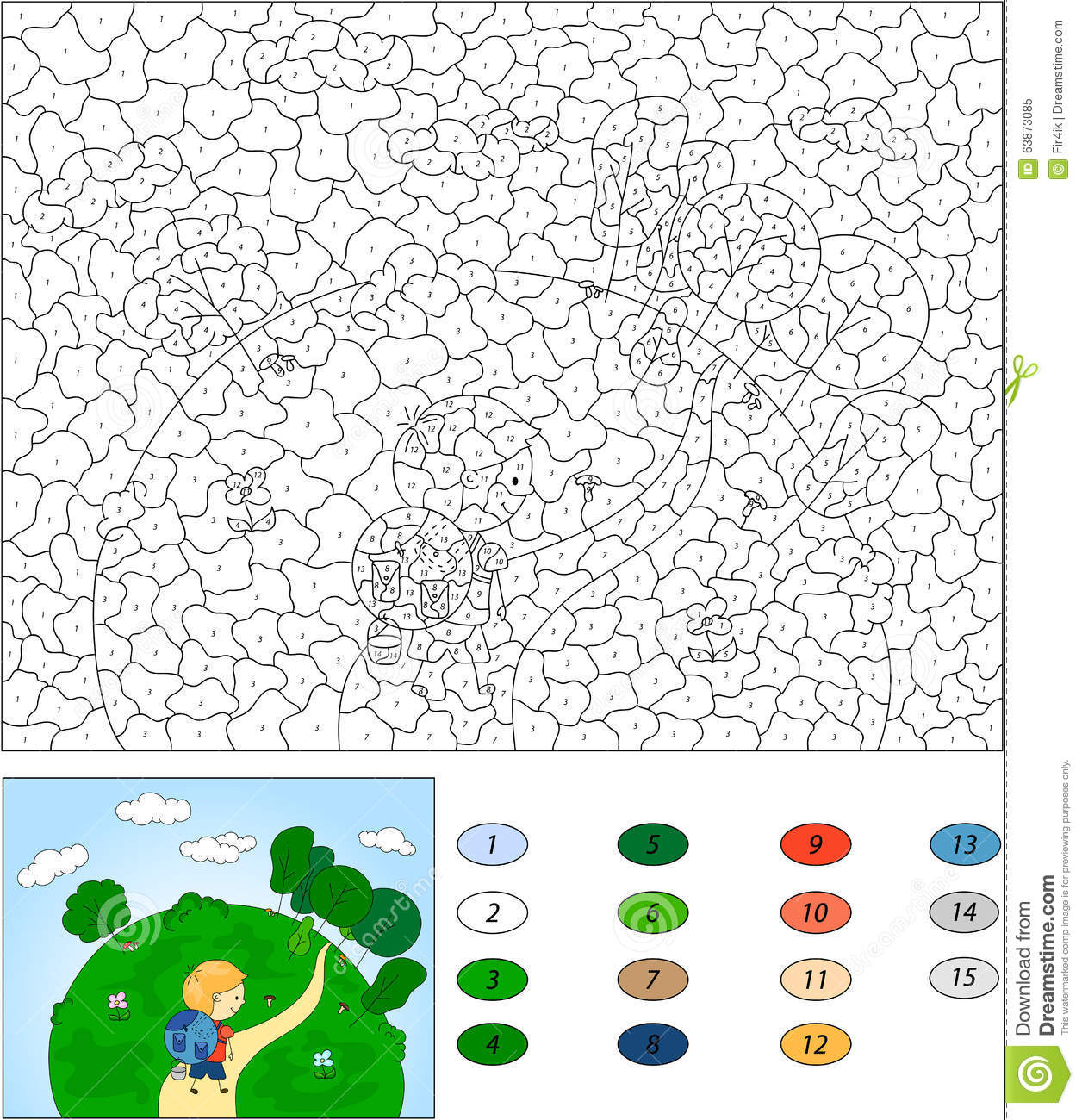 Color By Number Educational Game For Kids A Boy With A